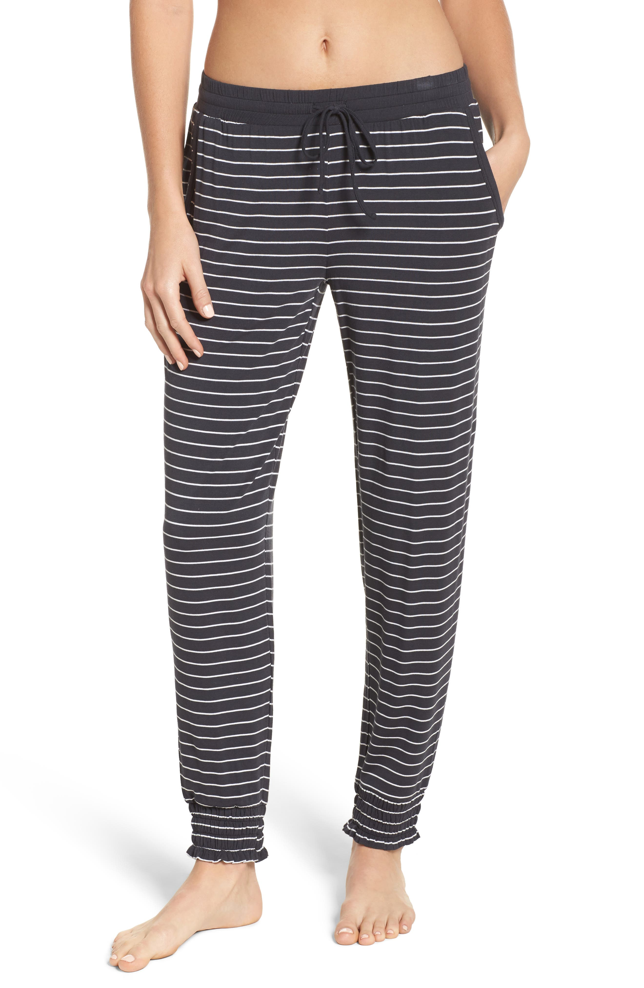 Stripe Jersey Lounge Pants,                             Main thumbnail 1, color,                             Smoke