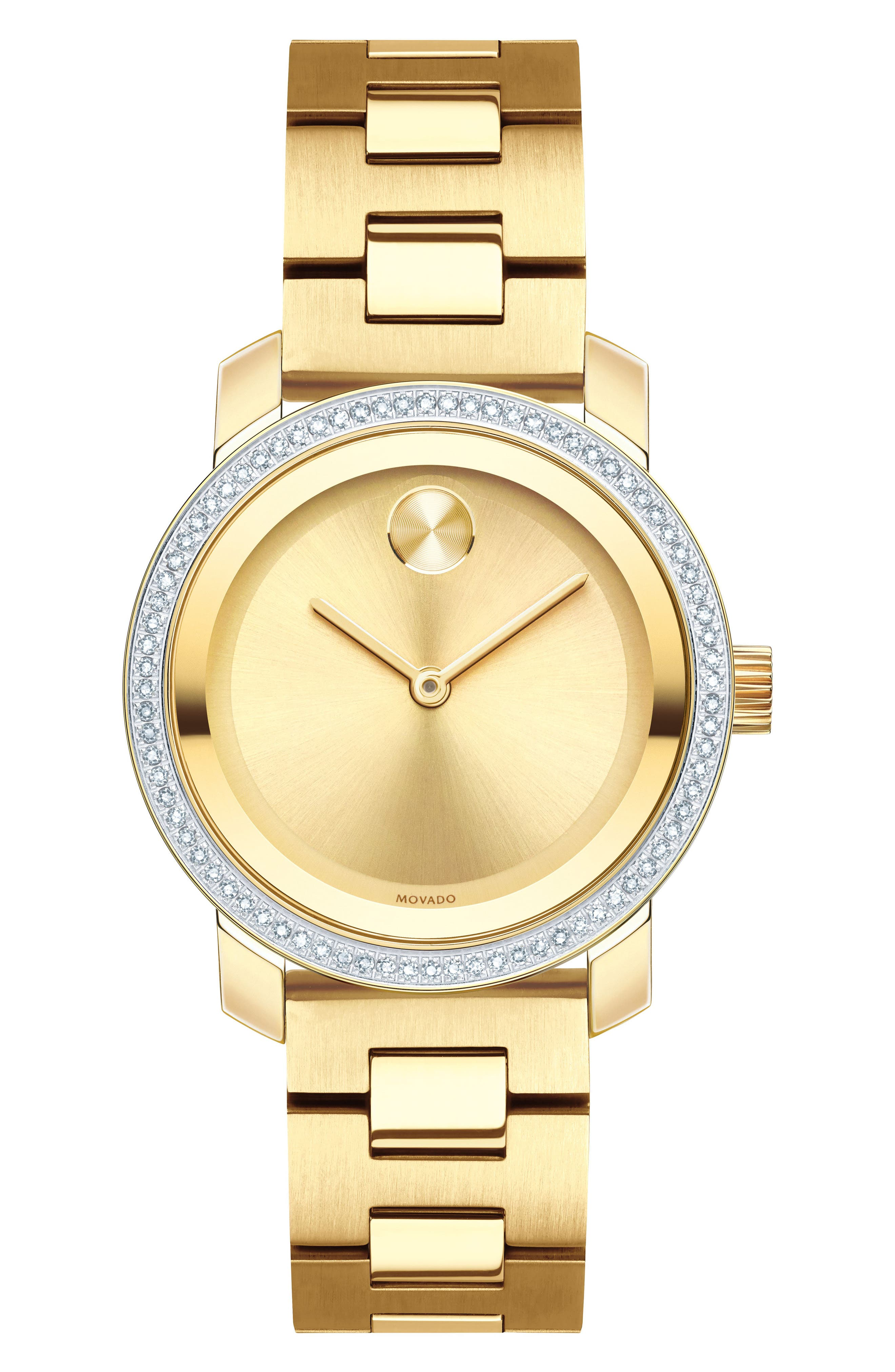 Bold Diamond Bezel Bracelet Watch,                         Main,                         color, Gold
