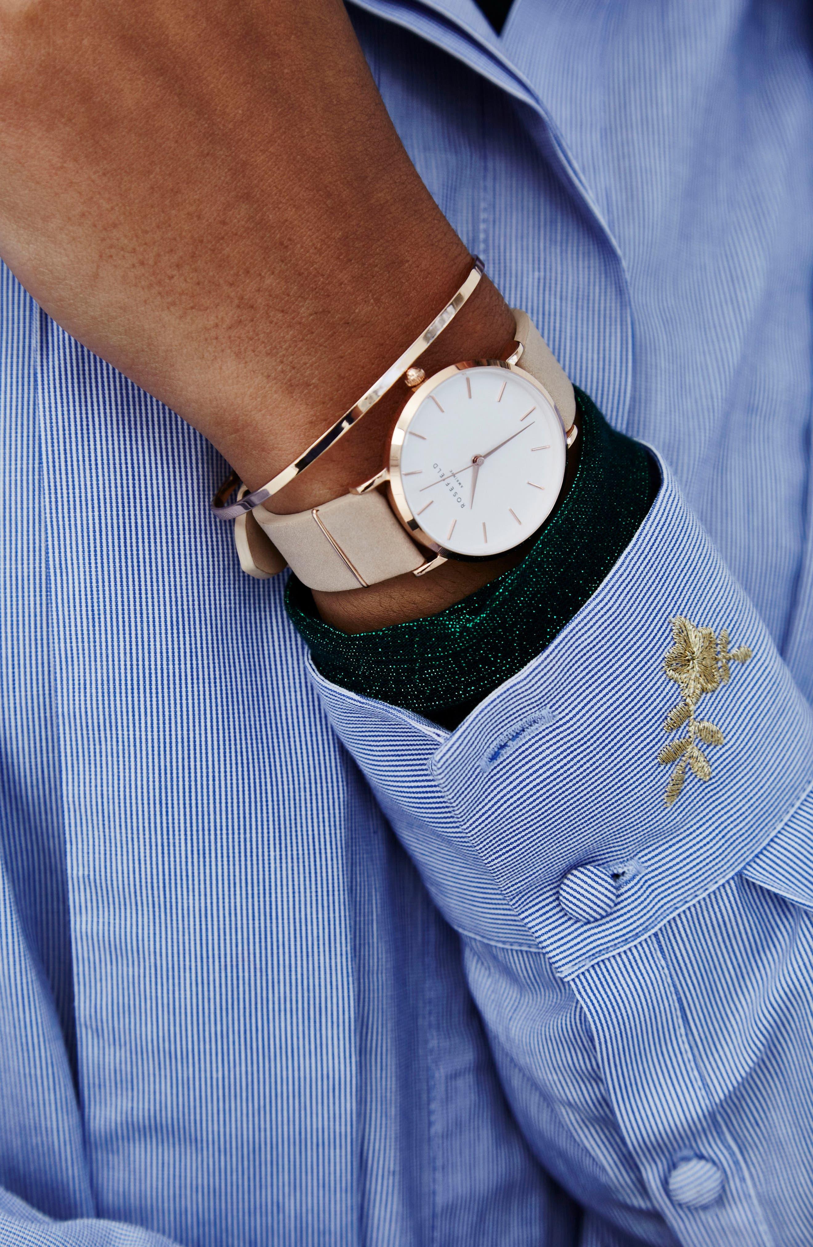 Holiday Leather Strap Watch & Bracelet Gift Set, 33mm,                             Alternate thumbnail 5, color,                             Pink/ Rose Gold