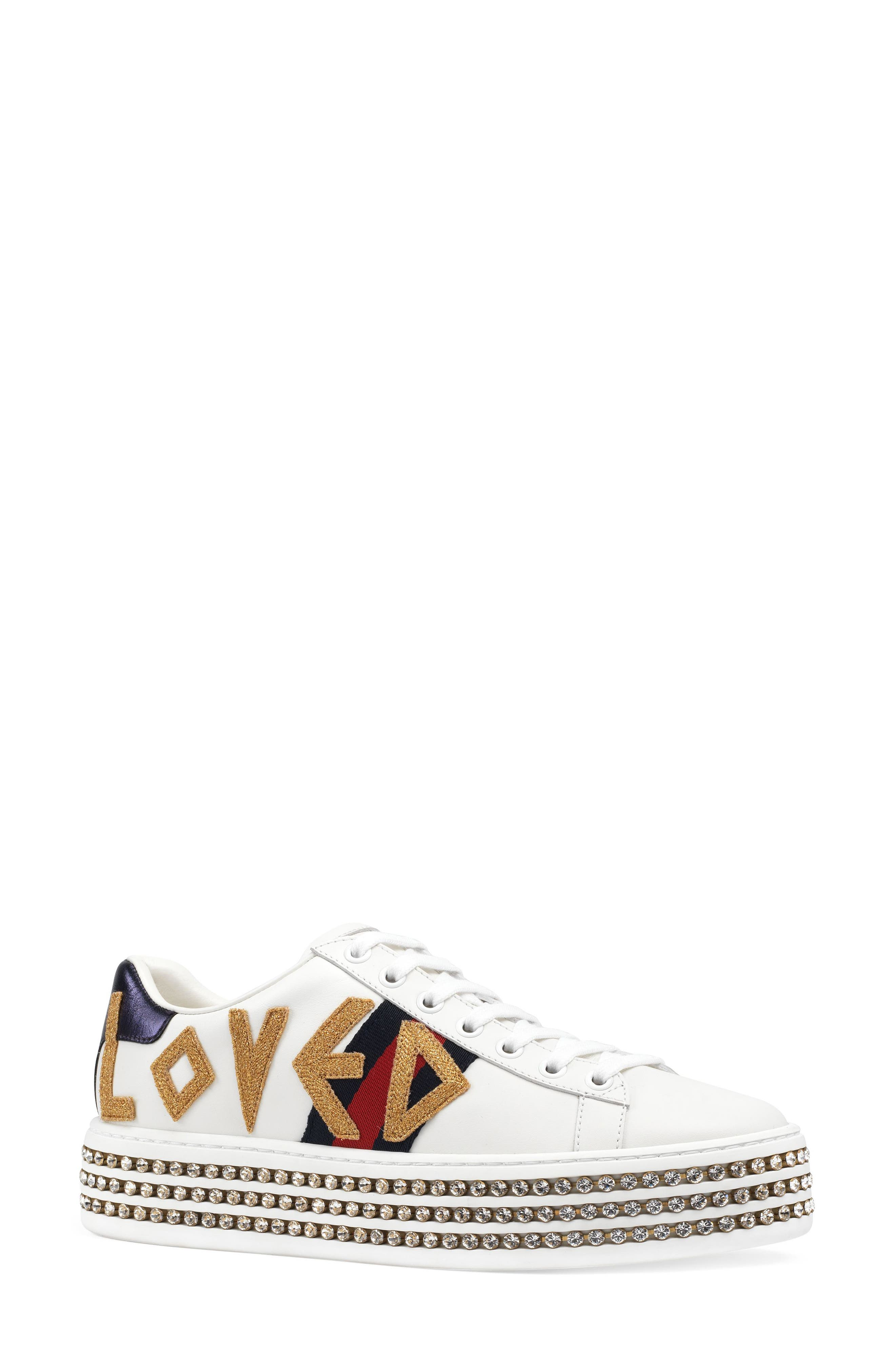 Alternate Image 1 Selected - Gucci New Ace Crystal Embellished Flatform Sneaker (Women)