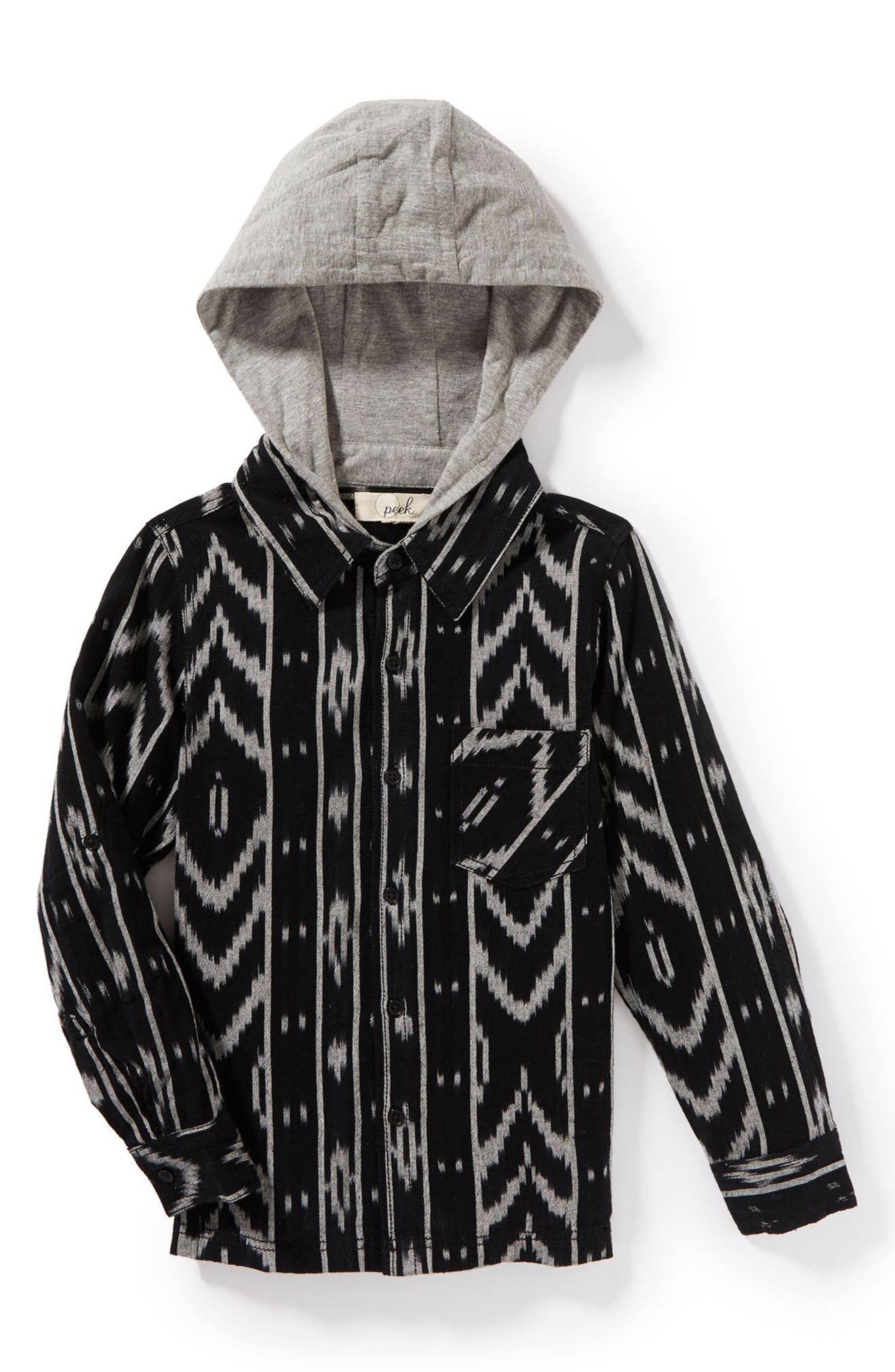 Ace Layered Button Hoodie,                         Main,                         color, Black