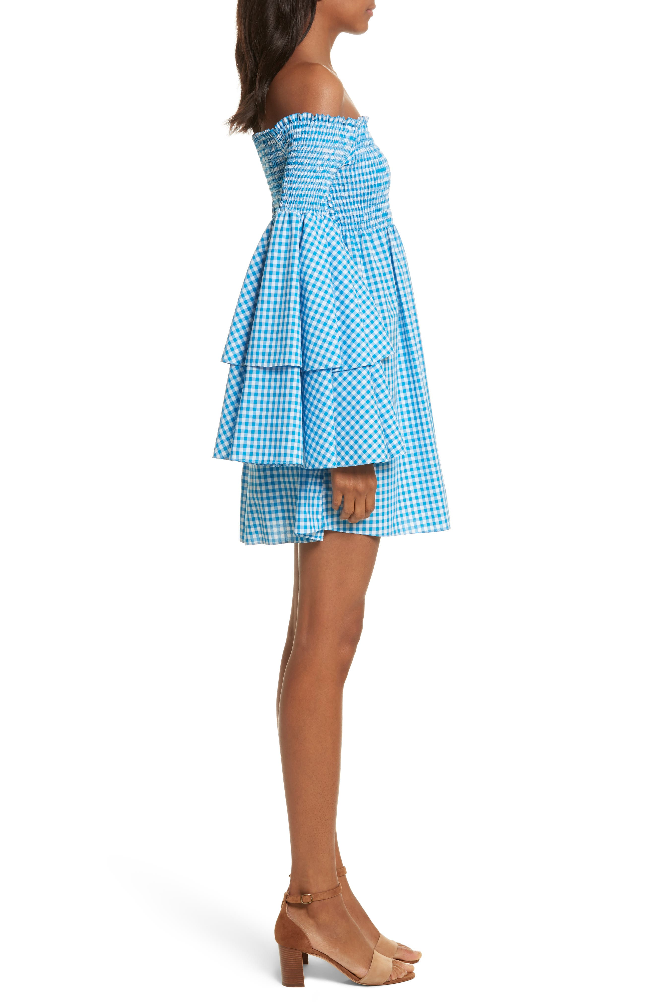 Appolonia Gingham Off the Shoulder Dress,                             Alternate thumbnail 3, color,                             Turquoise