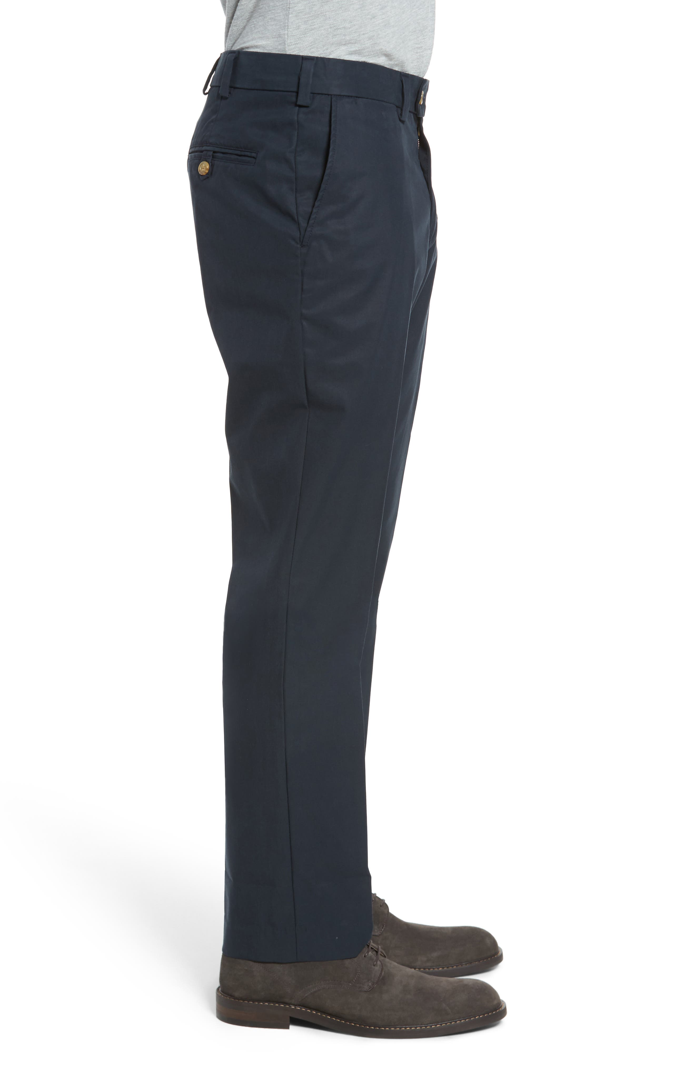 Straight Fit Travel Twill Pants,                             Alternate thumbnail 3, color,                             Navy