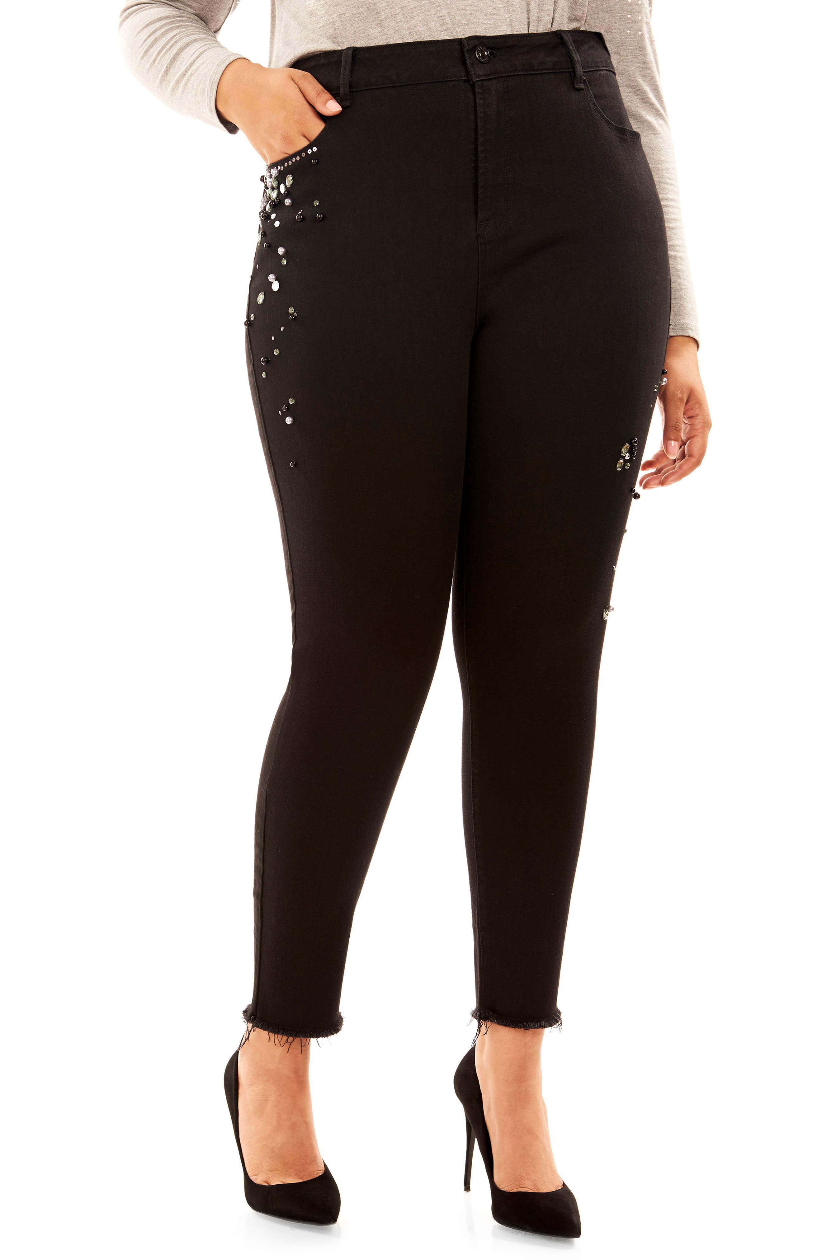 Alternate Image 1 Selected - Rebel Wilson x Angels The Pin Up Crop Super Skinny Jeans (Plus Size)