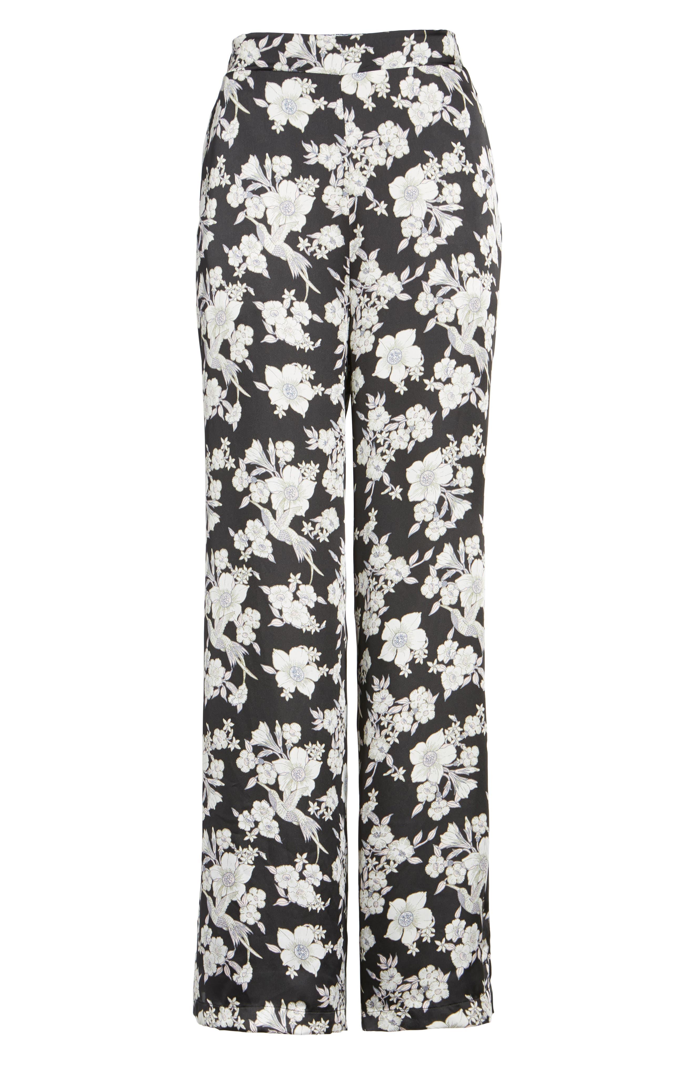 Birdee Wide Leg Pants,                             Alternate thumbnail 6, color,                             Black Floral