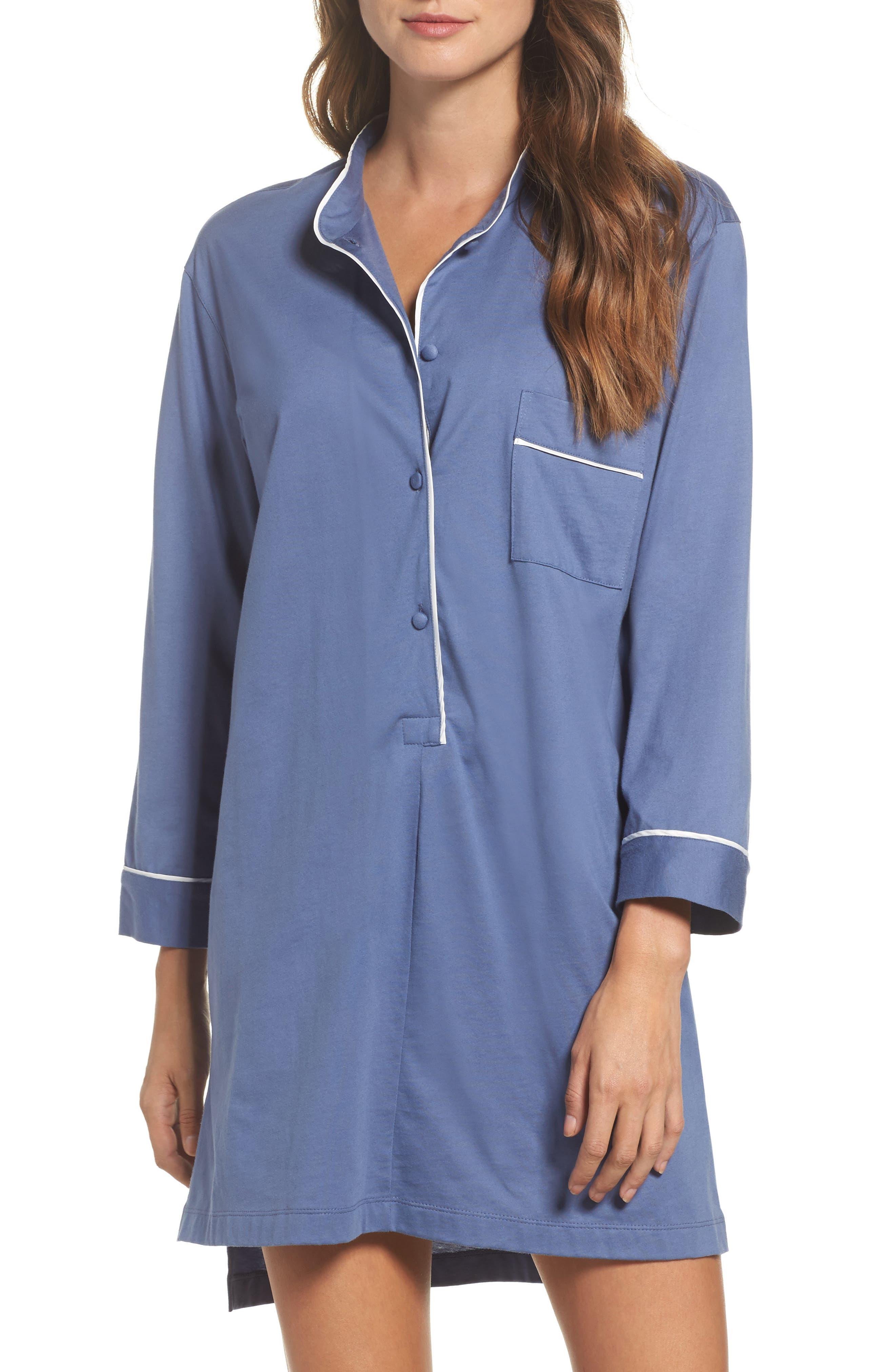 Bliss Supima<sup>®</sup> Cotton Sleep Shirt,                         Main,                         color, Bluze Haze Blm