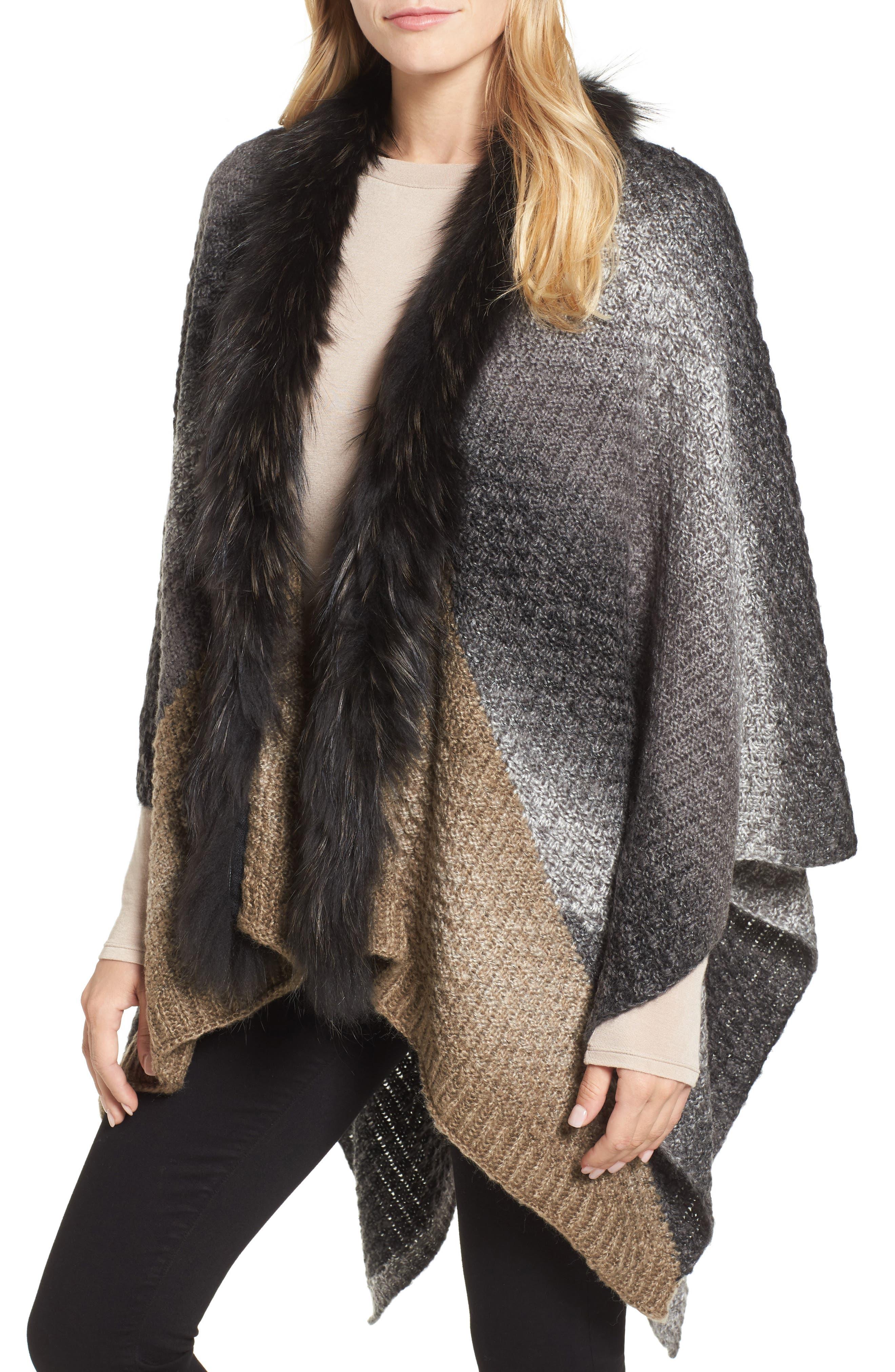 Linda Richards Genuine Raccoon Fur Trim Wool Ruana