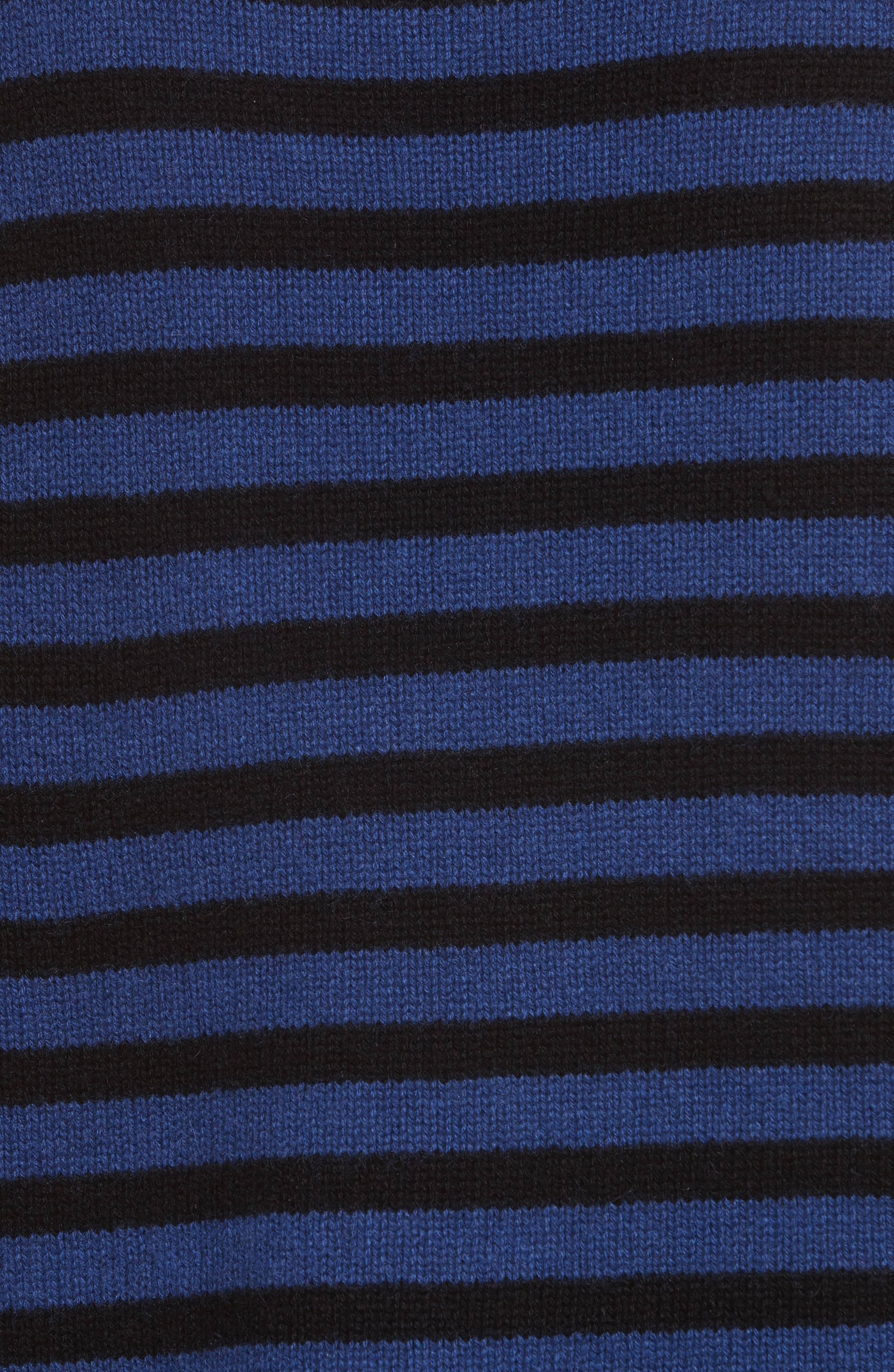 Crop Cashmere Sweater,                             Alternate thumbnail 5, color,                             Blue W/ Black Stripe