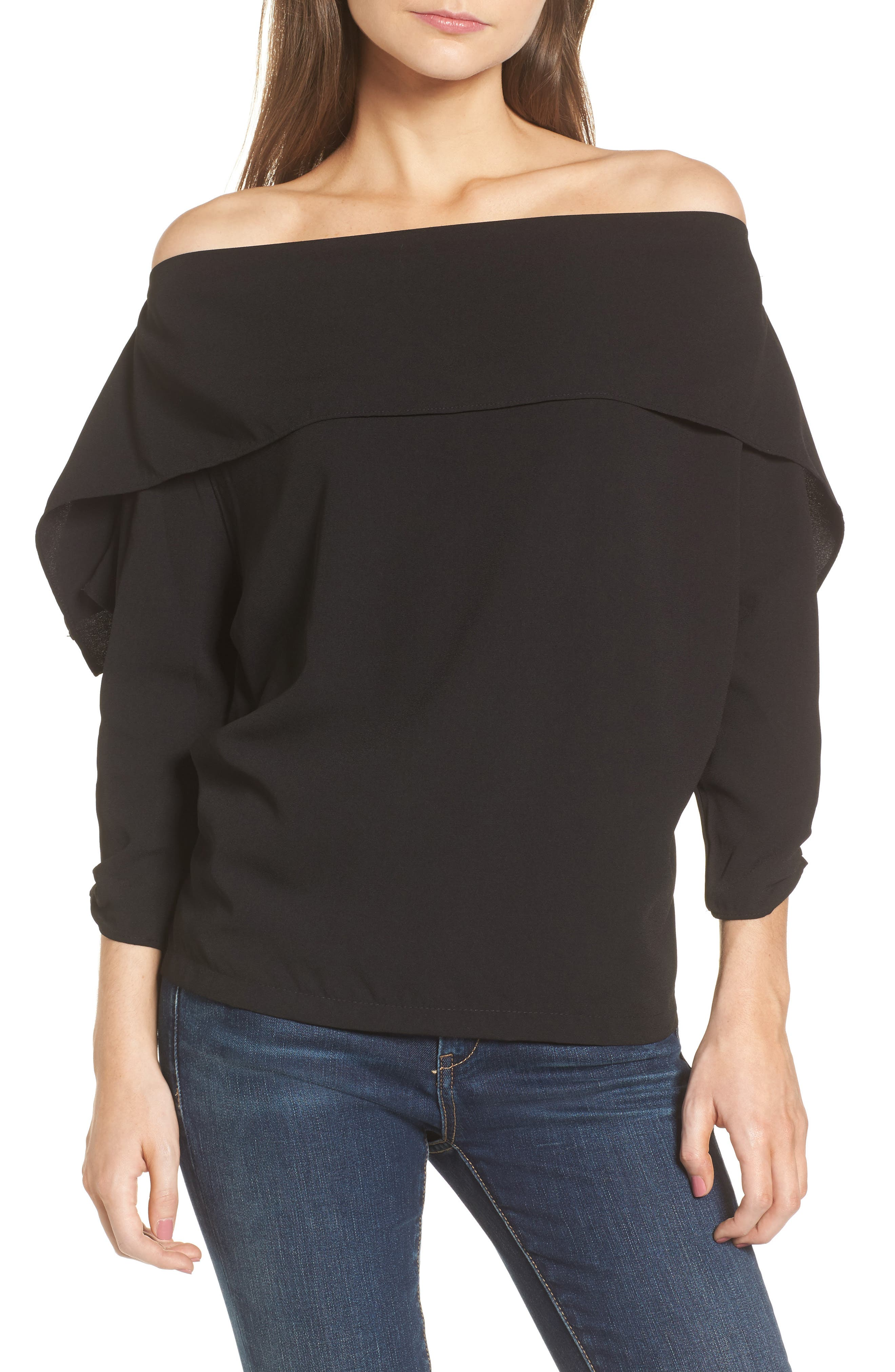 The Picture Perfect Off the Shoulder Blouse,                         Main,                         color, Black