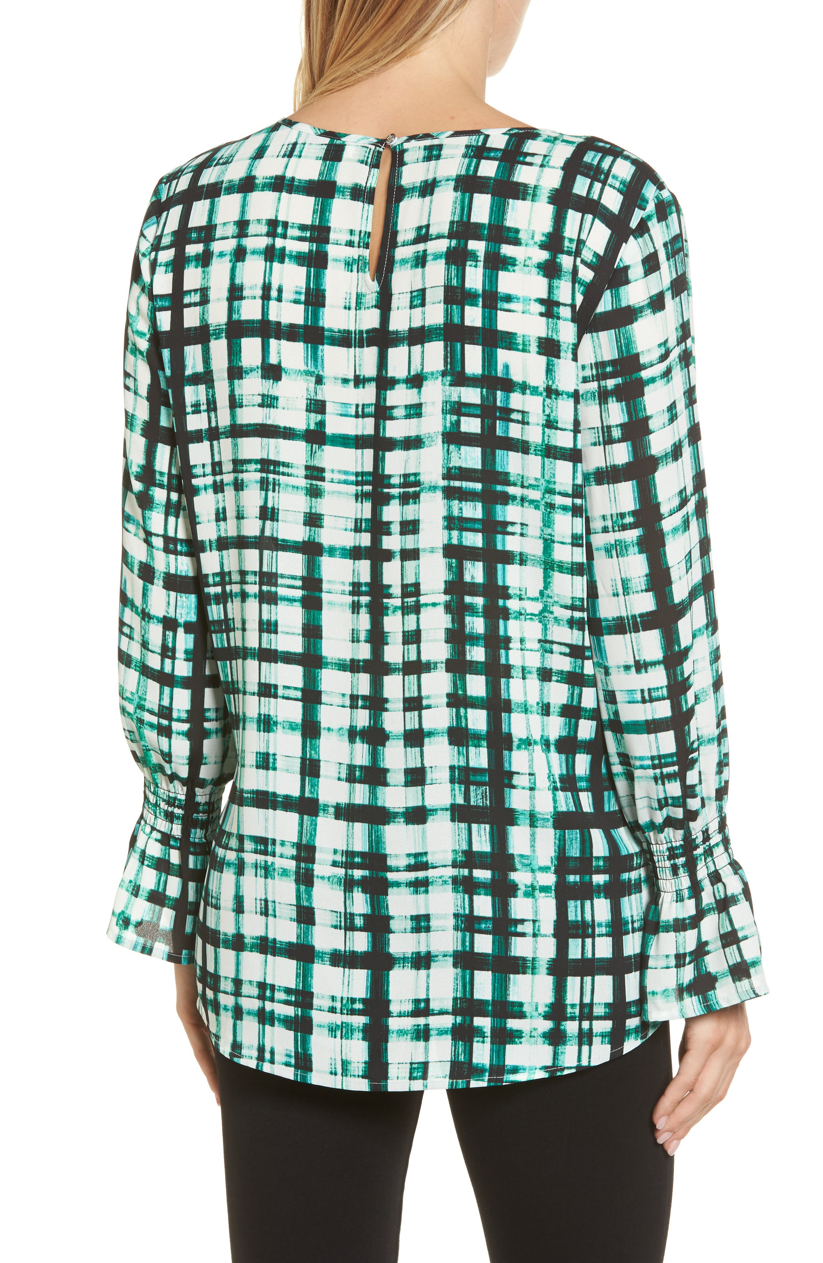 Plaid Ruffle Sleeve Blouse,                             Alternate thumbnail 2, color,                             Bright Amazon