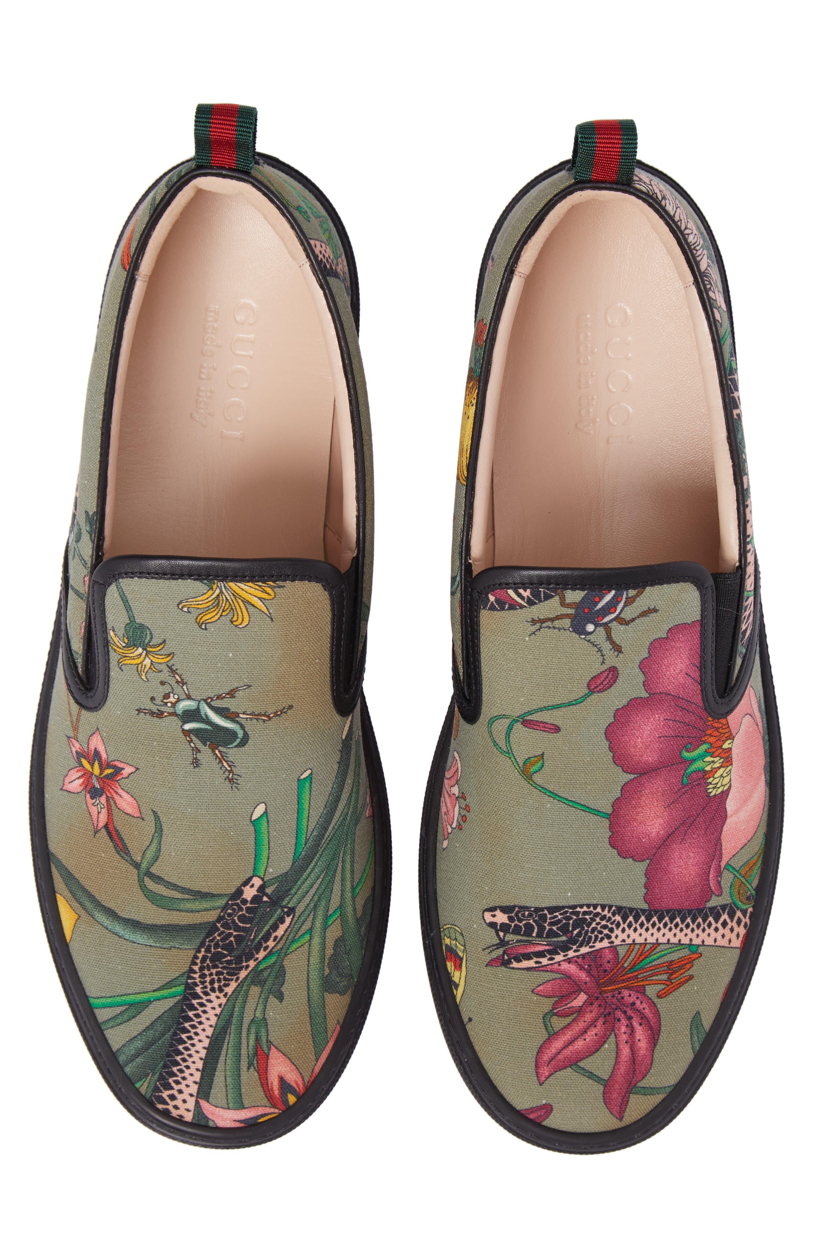 Flora Snake Slip-On Sneaker,                             Main thumbnail 1, color,                             Green