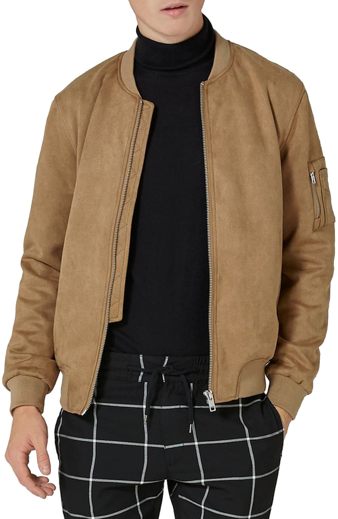 Faux Suede Bomber Jacket,                             Main thumbnail 1, color,                             Brown
