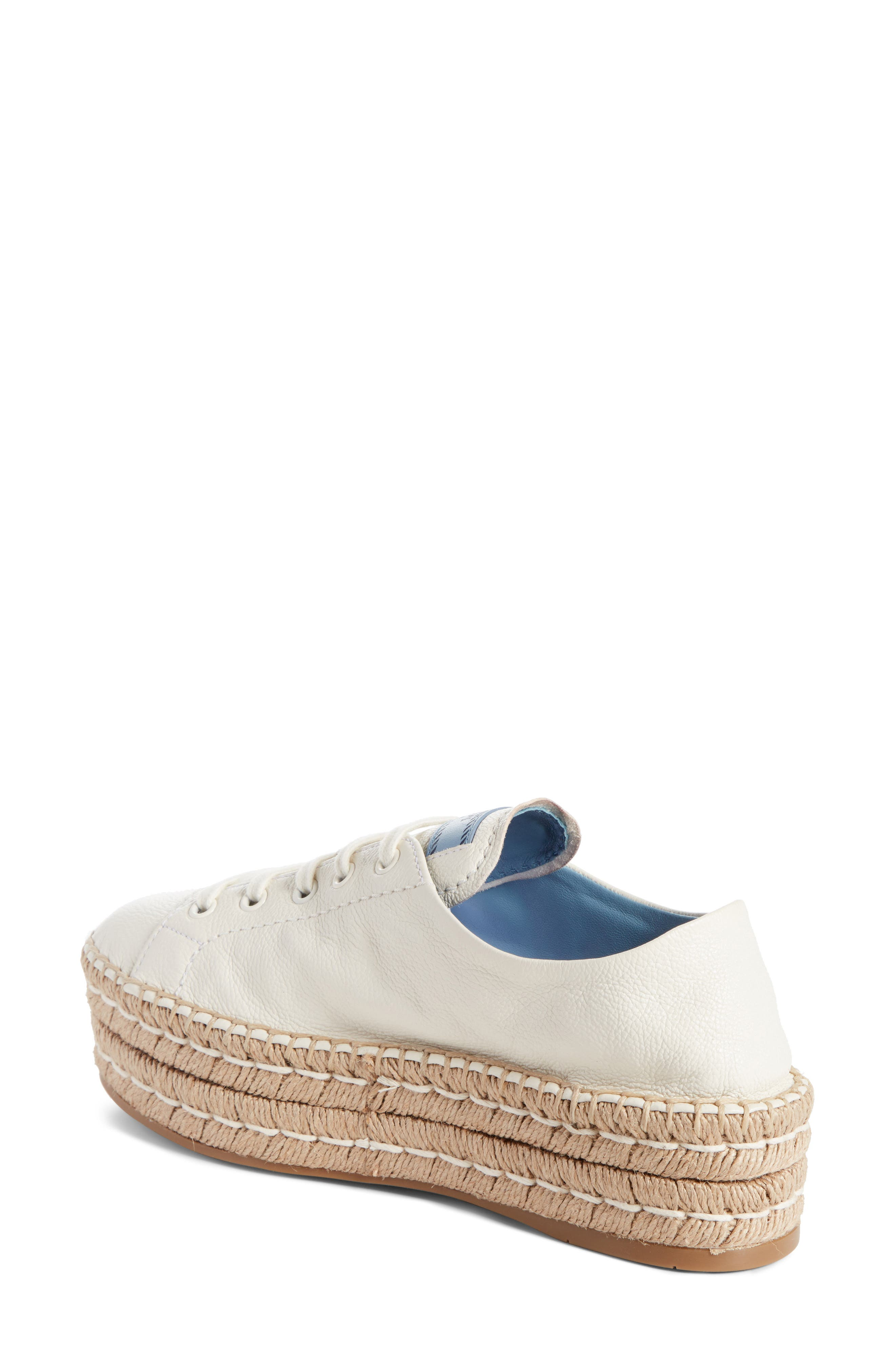 Flatform Espadrille Sneaker,                             Alternate thumbnail 2, color,                             White