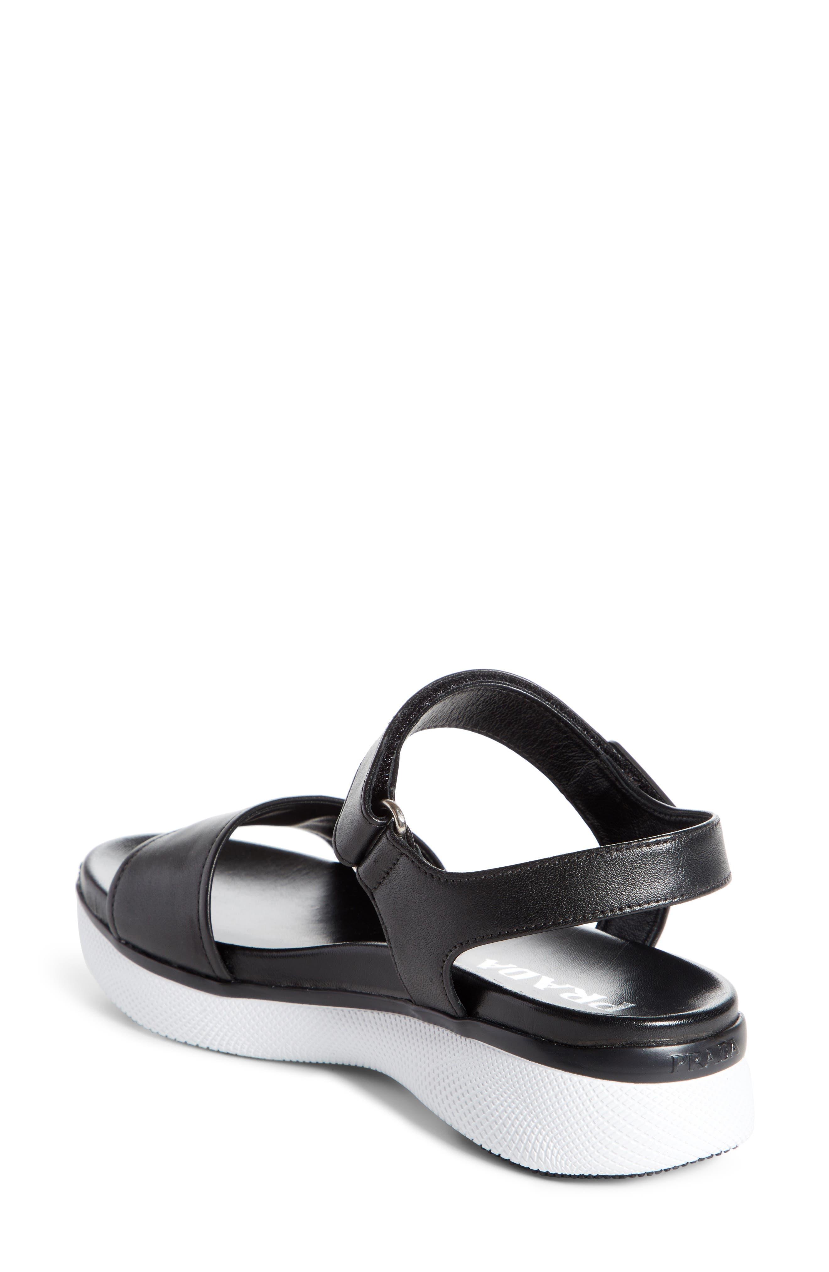 Platform Sandal,                             Alternate thumbnail 2, color,                             Black/ White