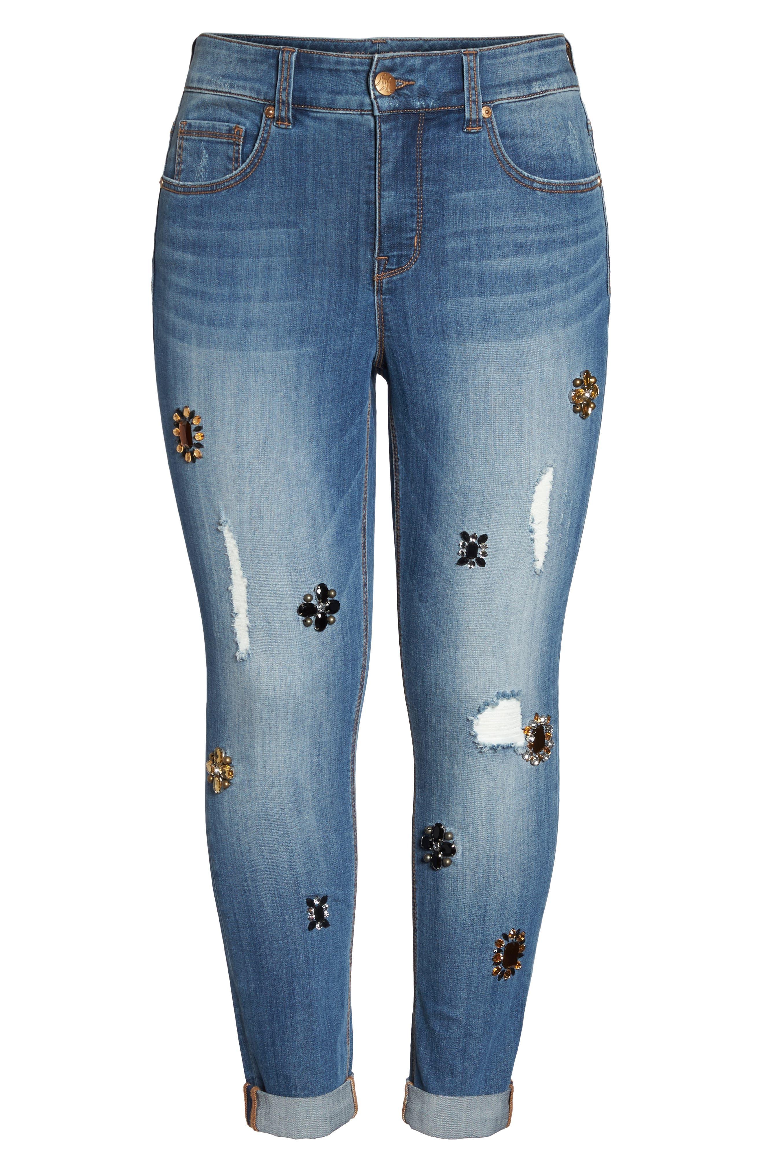 Alternate Image 6  - Melissa McCarthy Seven7 Jeweled Skinny Jeans (Heiress) (Plus Size)