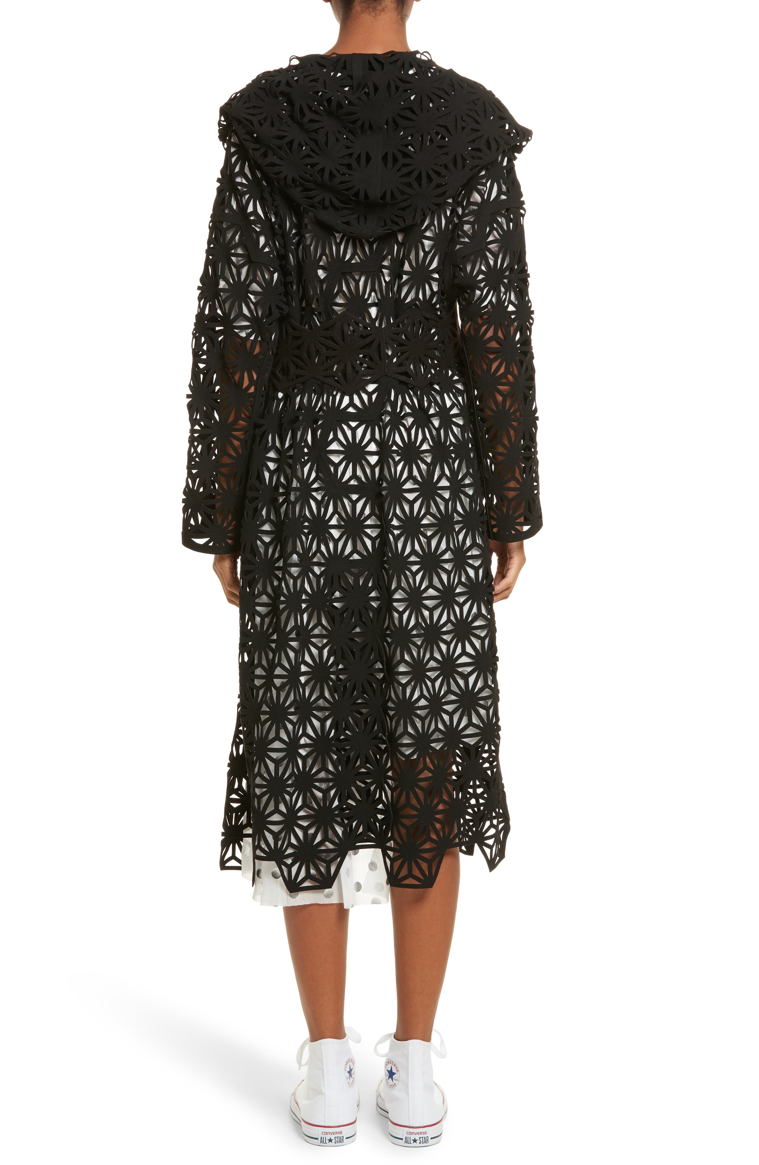 Laser Cut Hooded Coat,                             Alternate thumbnail 2, color,                             Black
