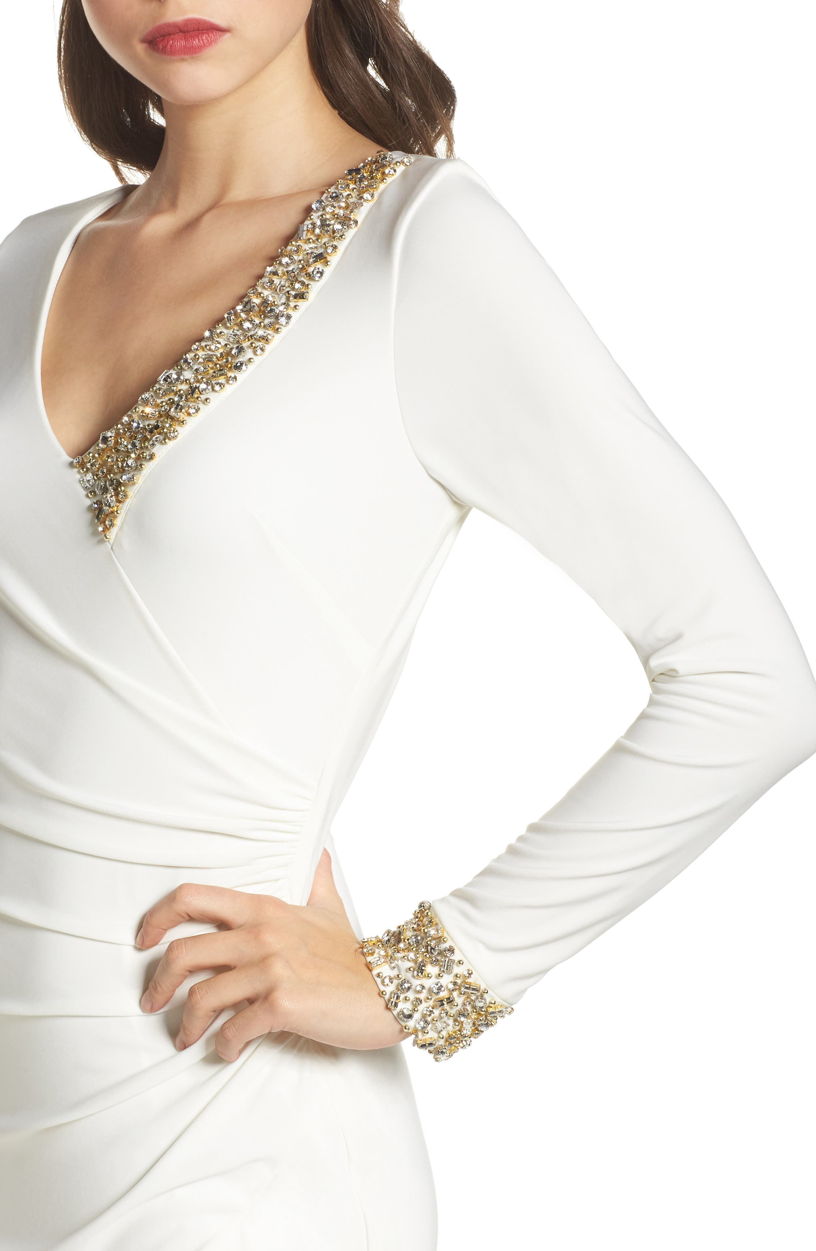 Embellished Side Tuck Jersey Gown,                             Alternate thumbnail 4, color,                             Ivory