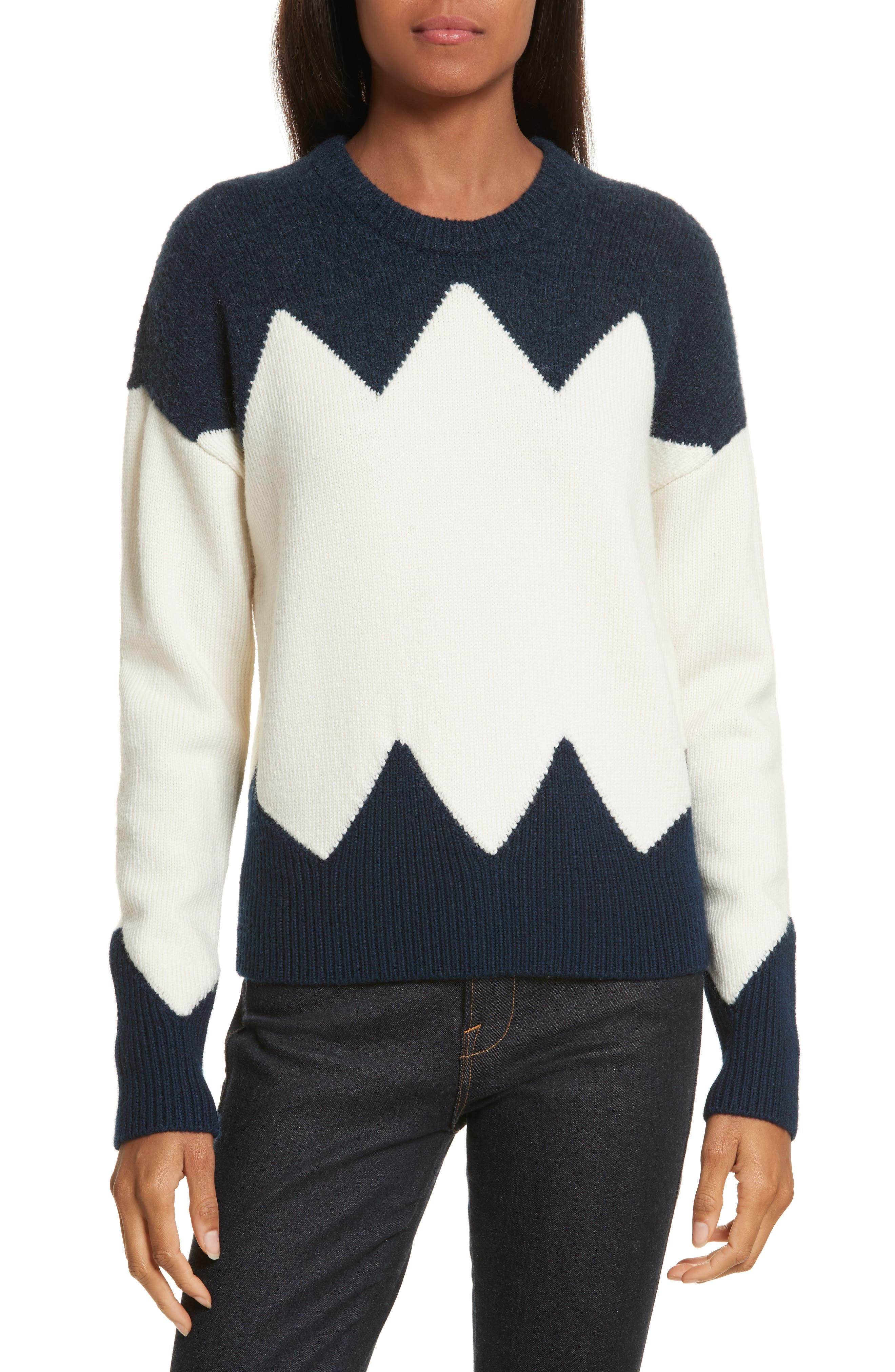 Hannah Wool Blend Sweater,                         Main,                         color, Tory Navy/ New Ivory