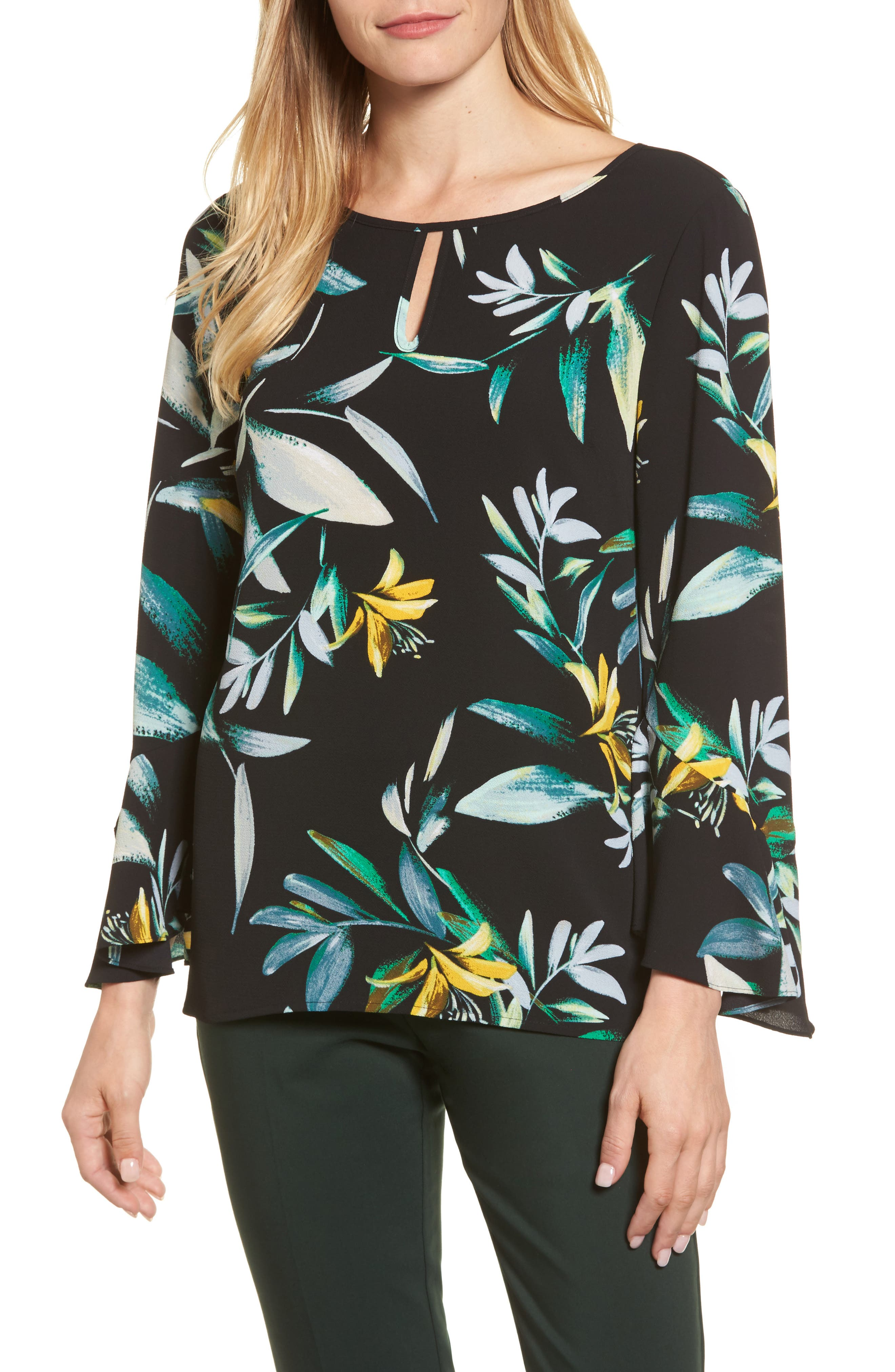 Floral Print Bell Sleeve Blouse,                         Main,                         color, Rich Black
