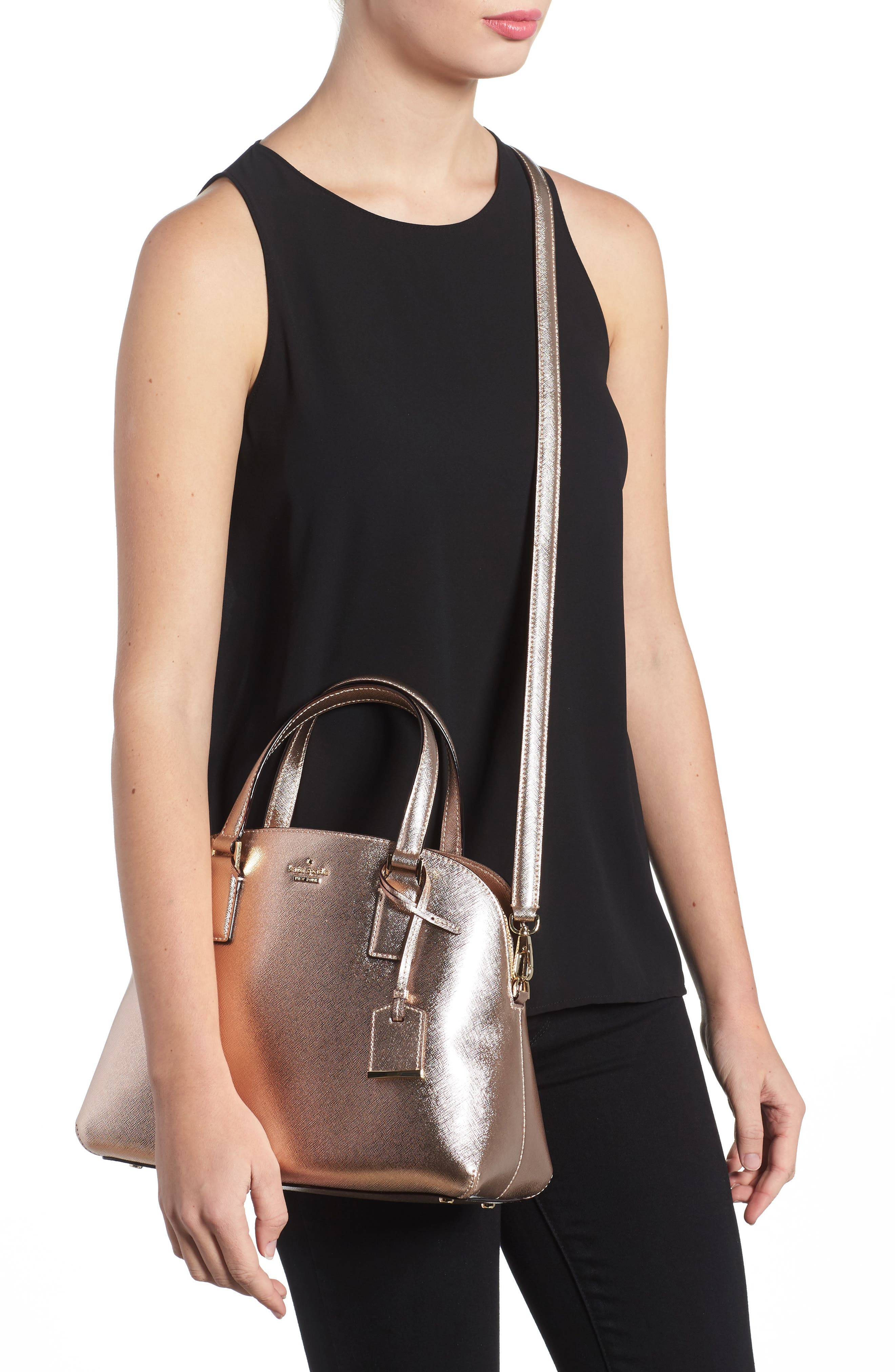 cameron street - lottie leather satchel,                             Alternate thumbnail 2, color,                             Rose Gold