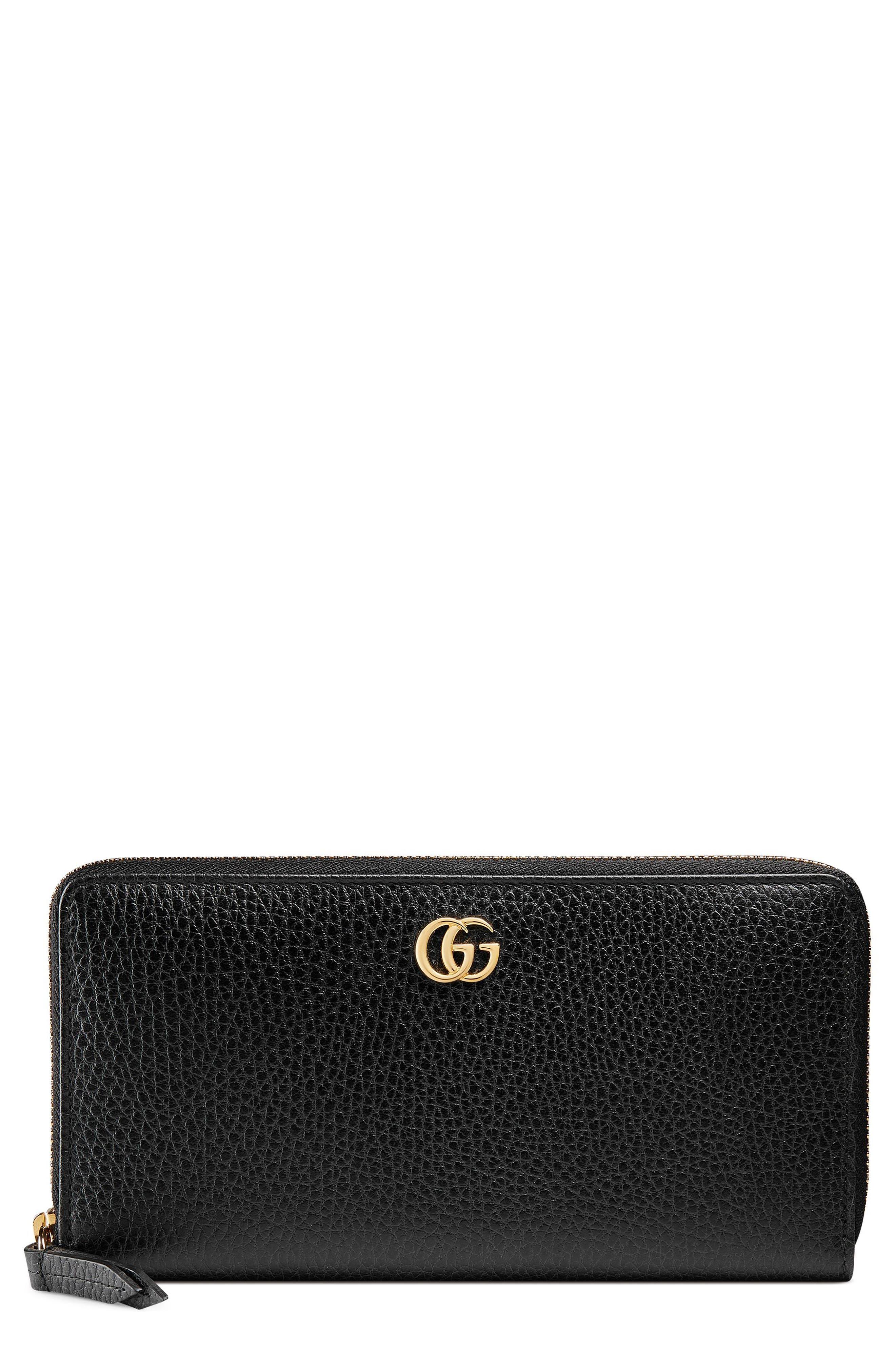 Petite Marmont Leather Zip Around Wallet,                             Main thumbnail 1, color,                             Nero/ Nero