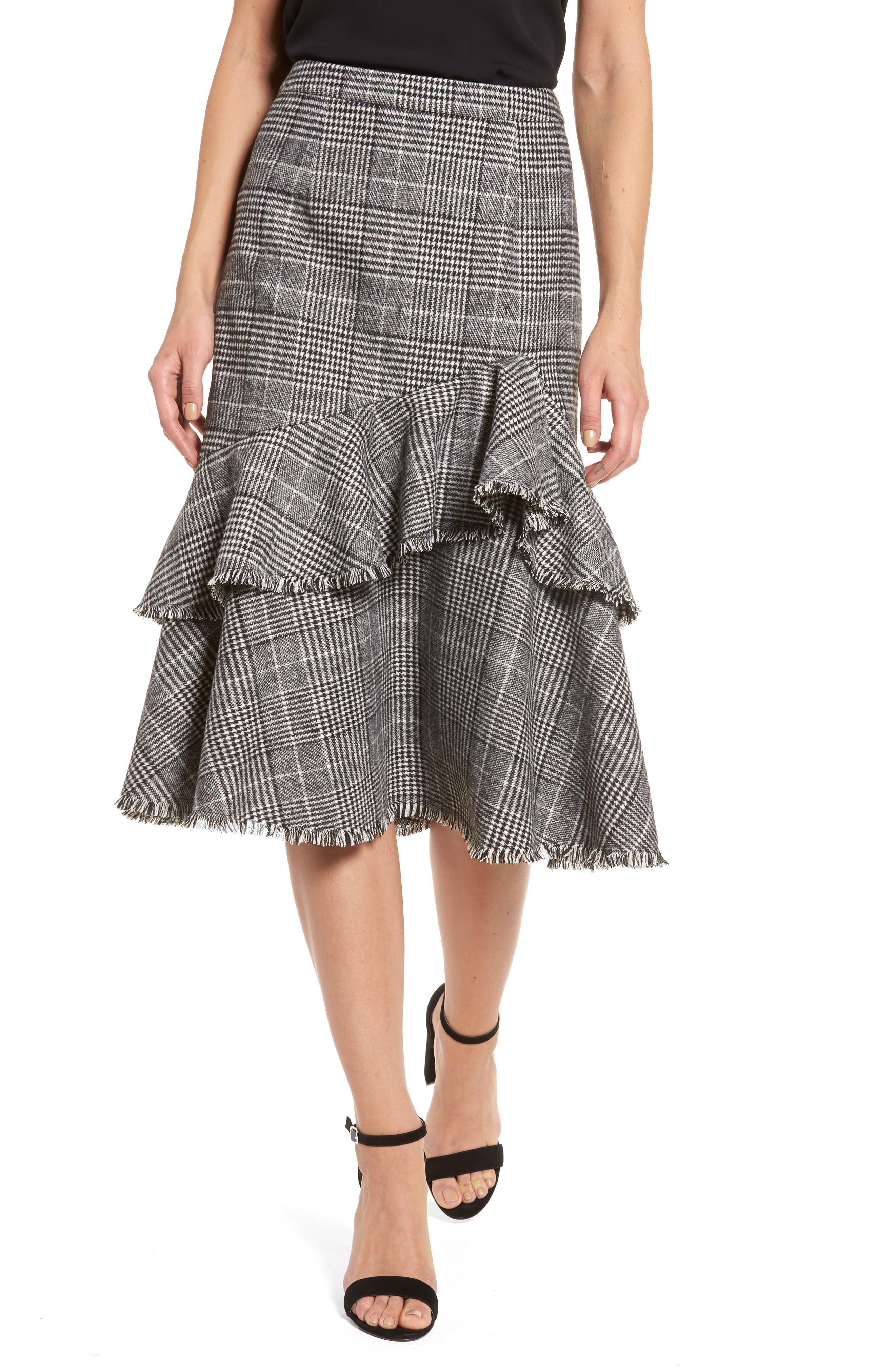 Main Image - Halogen® Ruffle Plaid Skirt