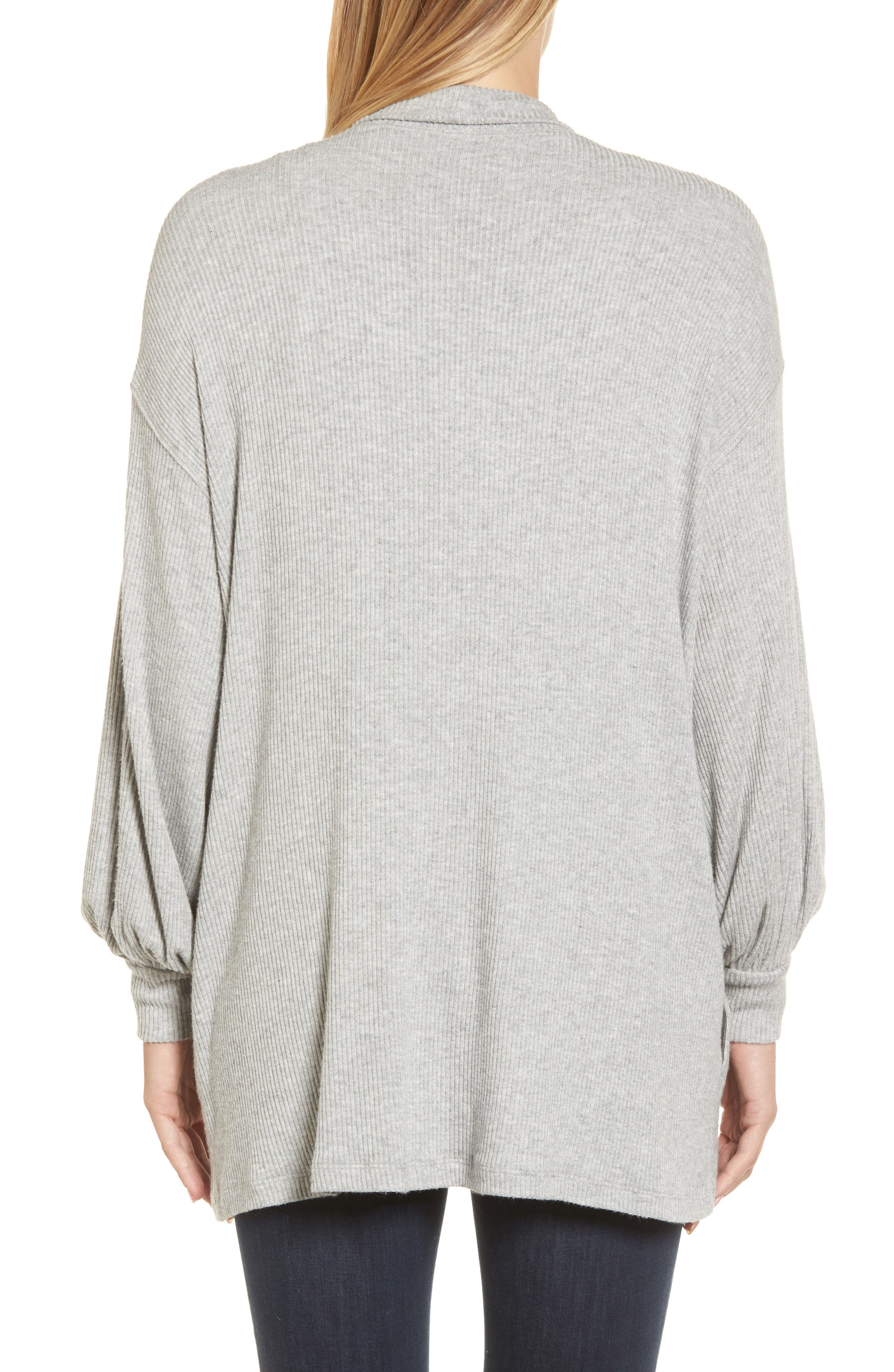 Ribbed Blouson Sleeve Cardigan,                             Alternate thumbnail 2, color,                             Heather Grey