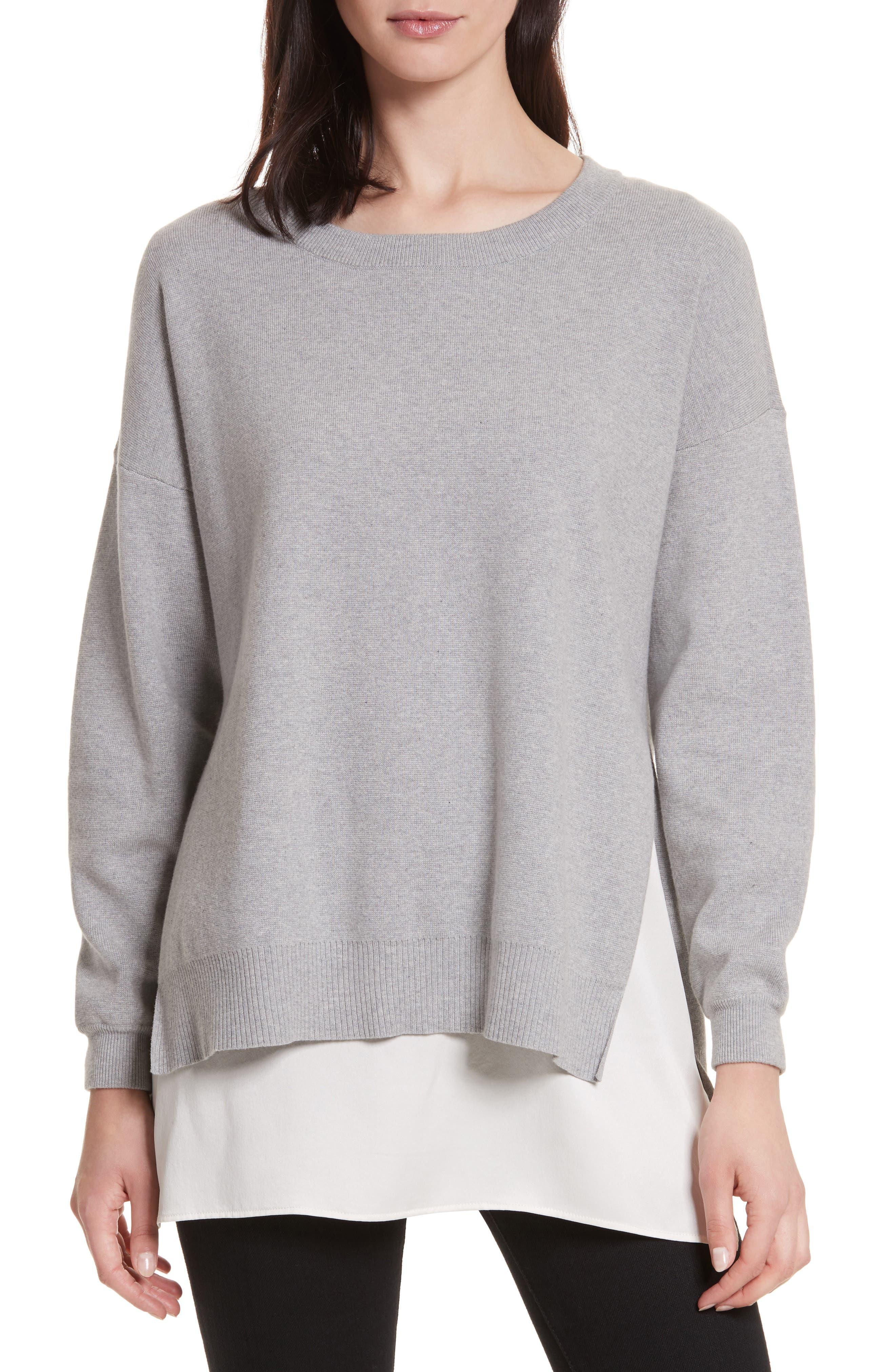 Eldridge Side Slit Undershirt Tunic,                         Main,                         color, Light Heather Grey/ Soft White
