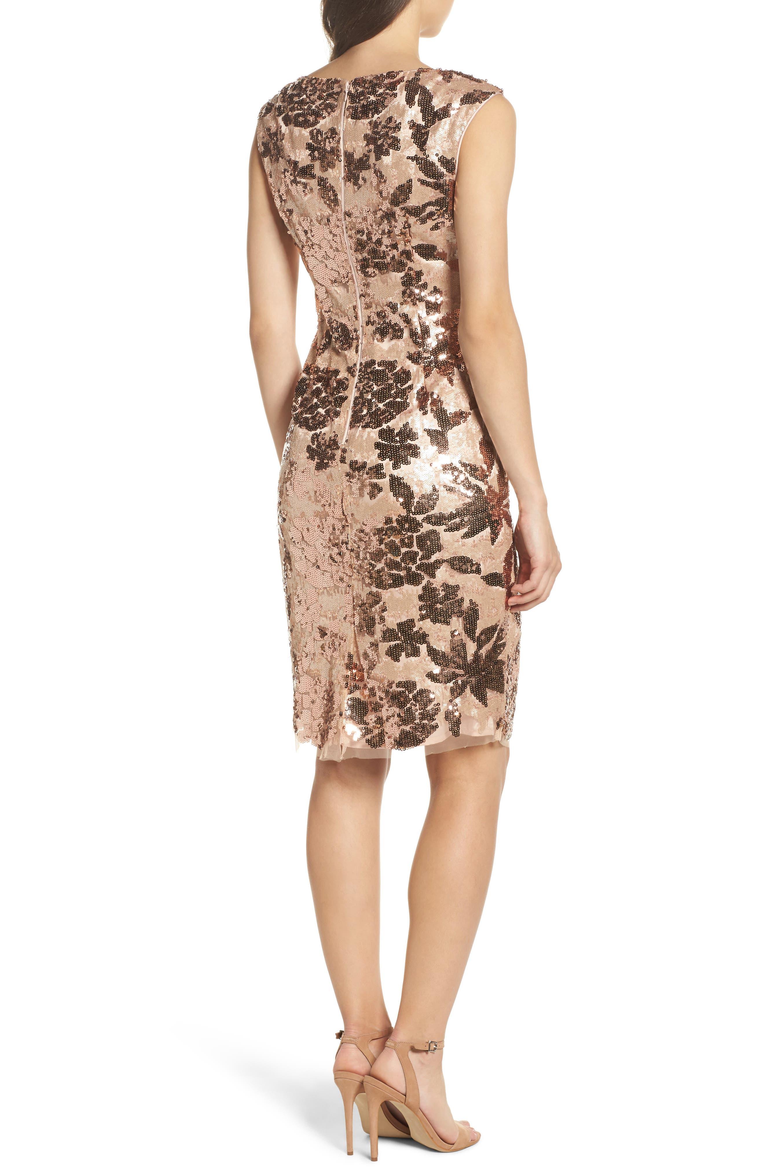 Sequin Body-Con Dress,                             Alternate thumbnail 2, color,                             Rose Gold