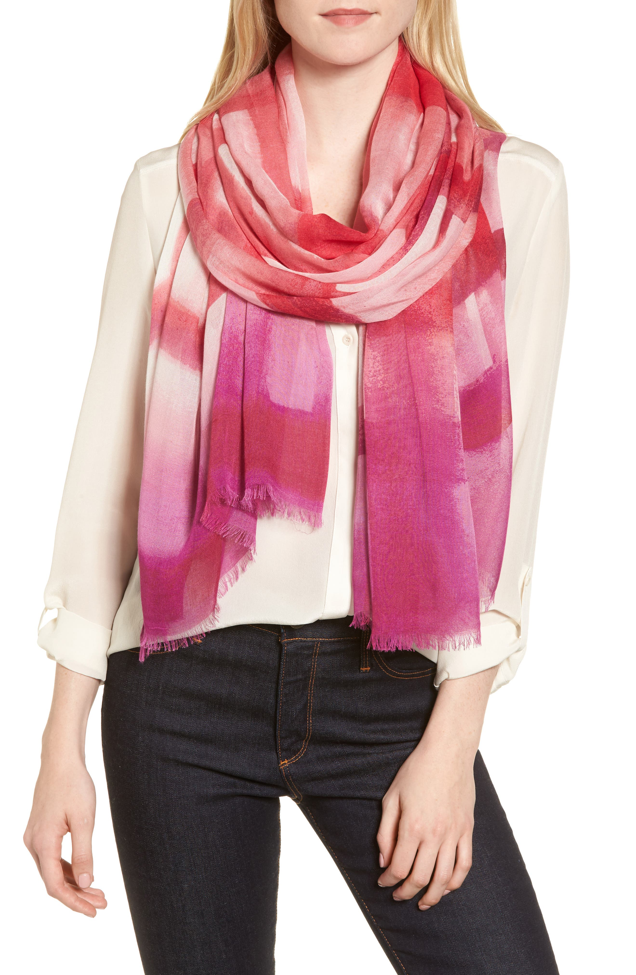 Print Modal & Silk Scarf,                         Main,                         color, Pink Painted Gingham Print