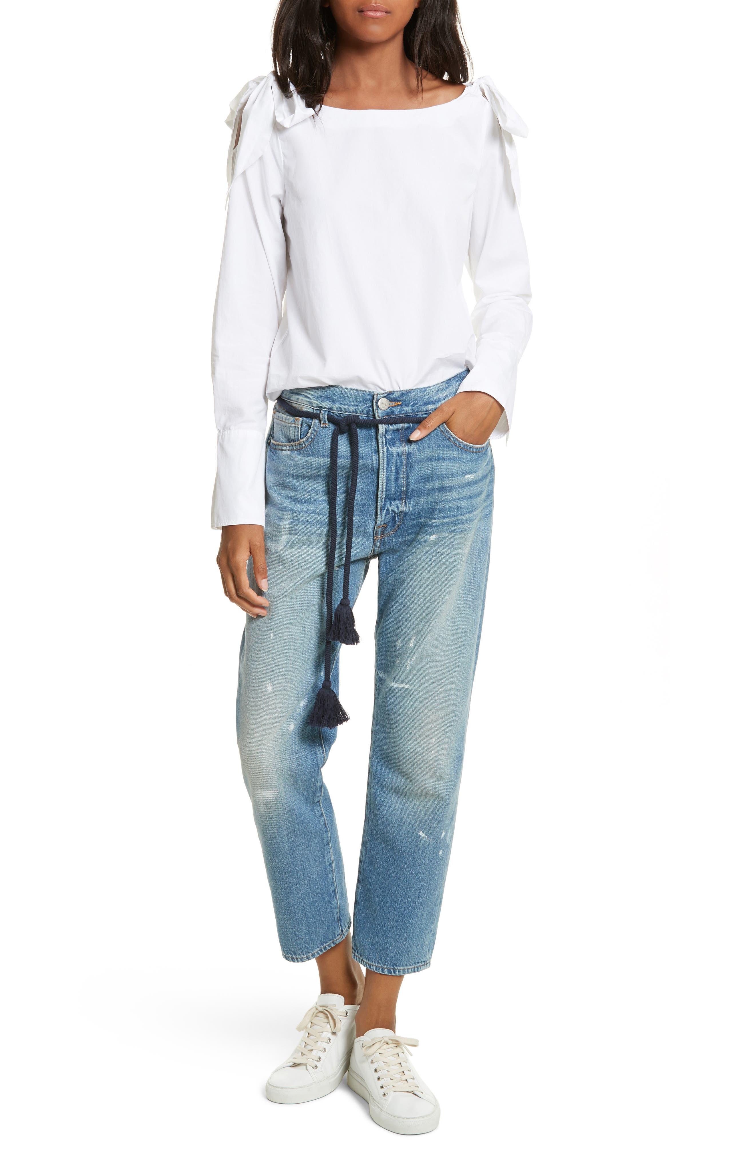 Le Original Tassel Tie High Waist Jeans,                             Alternate thumbnail 3, color,                             Bowman