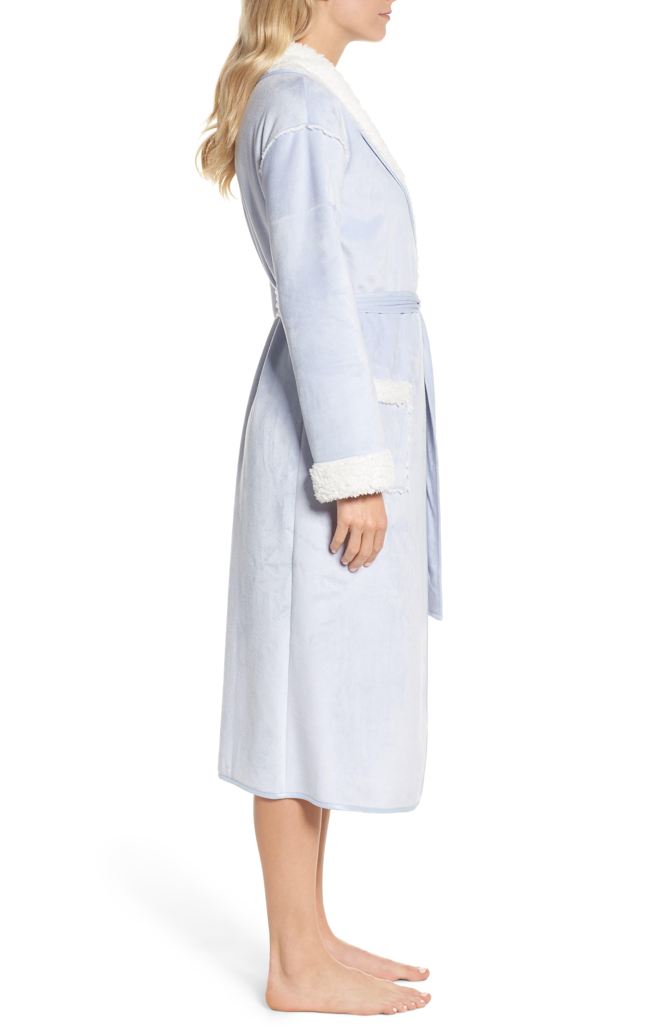 Wintertide Plush Robe,                             Alternate thumbnail 3, color,                             Blue Xenon