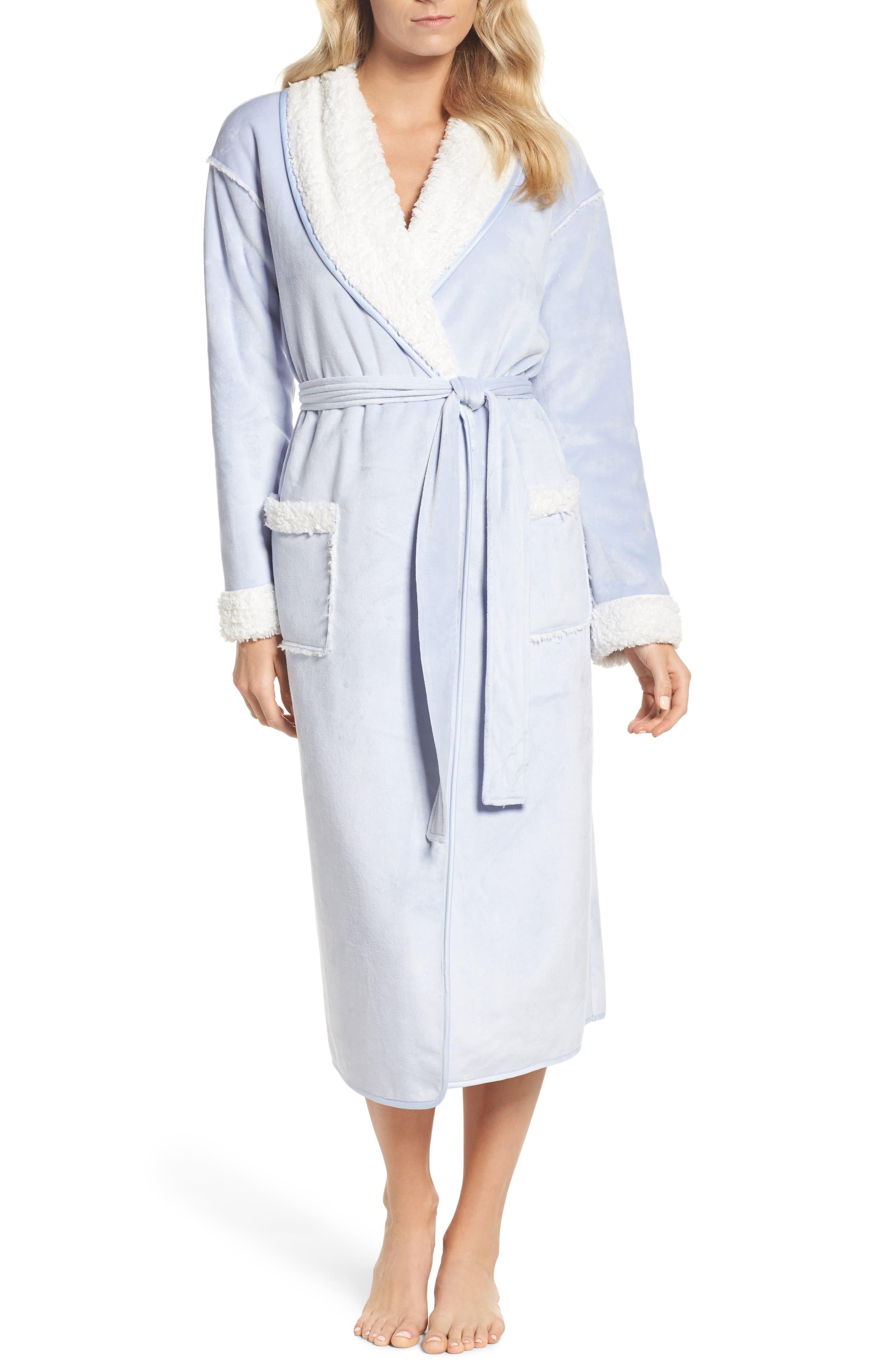 Wintertide Plush Robe,                         Main,                         color, Blue Xenon