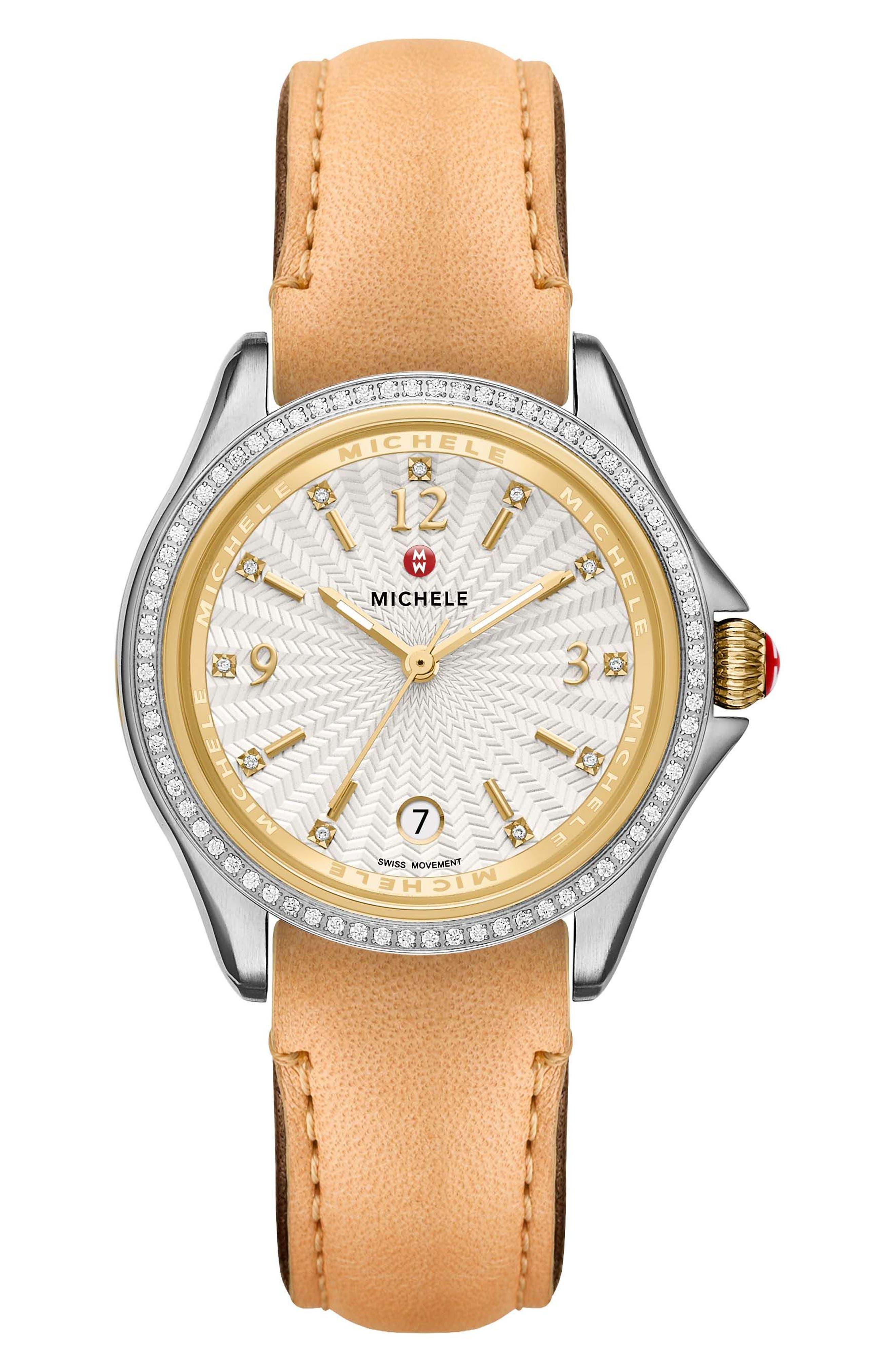 MICHELE Belmore Diamond Diamond Dial Leather Strap Watch, 37mm