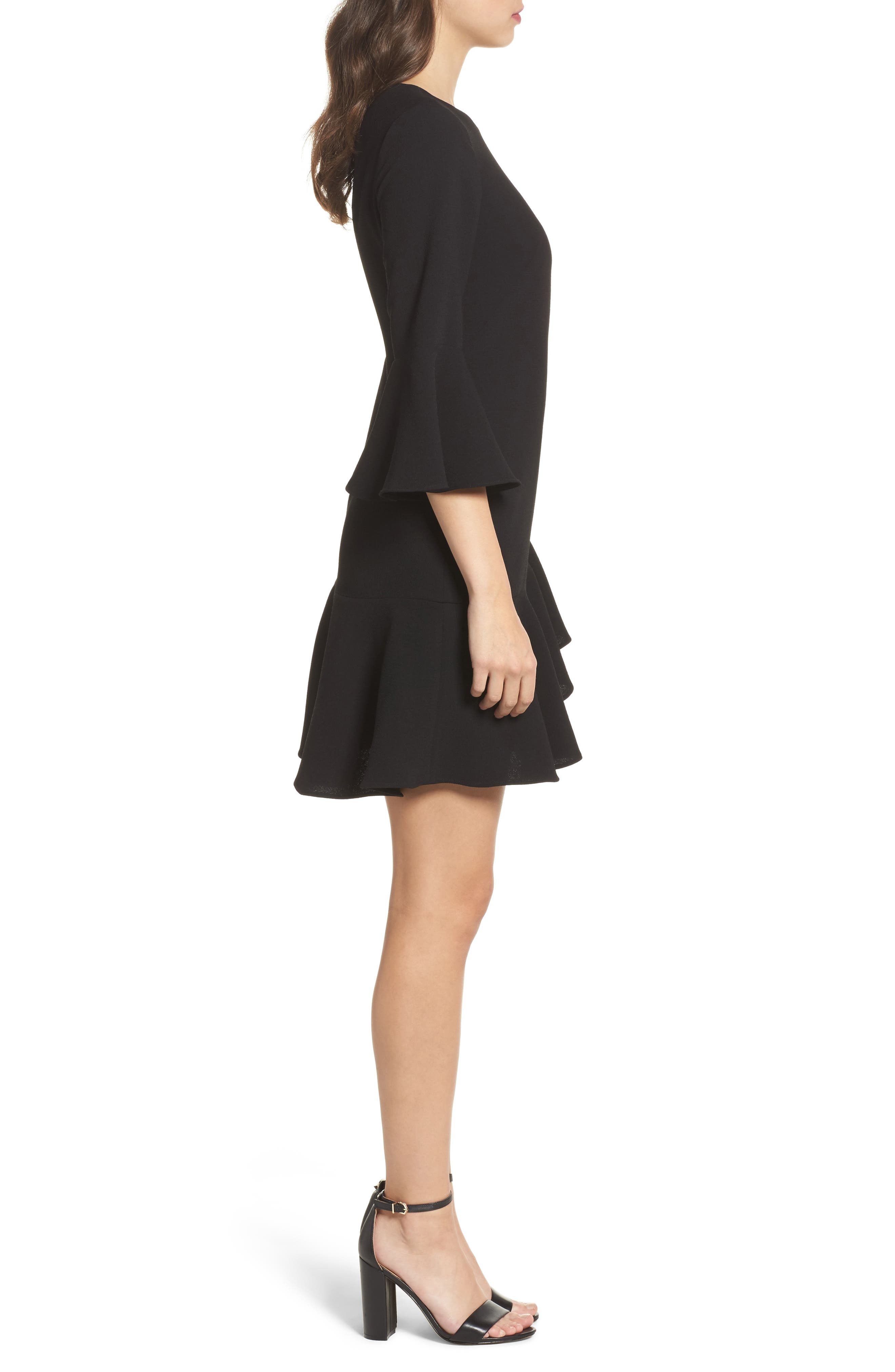 Bell Sleeve Fit & Flare Dress,                             Alternate thumbnail 3, color,                             Black