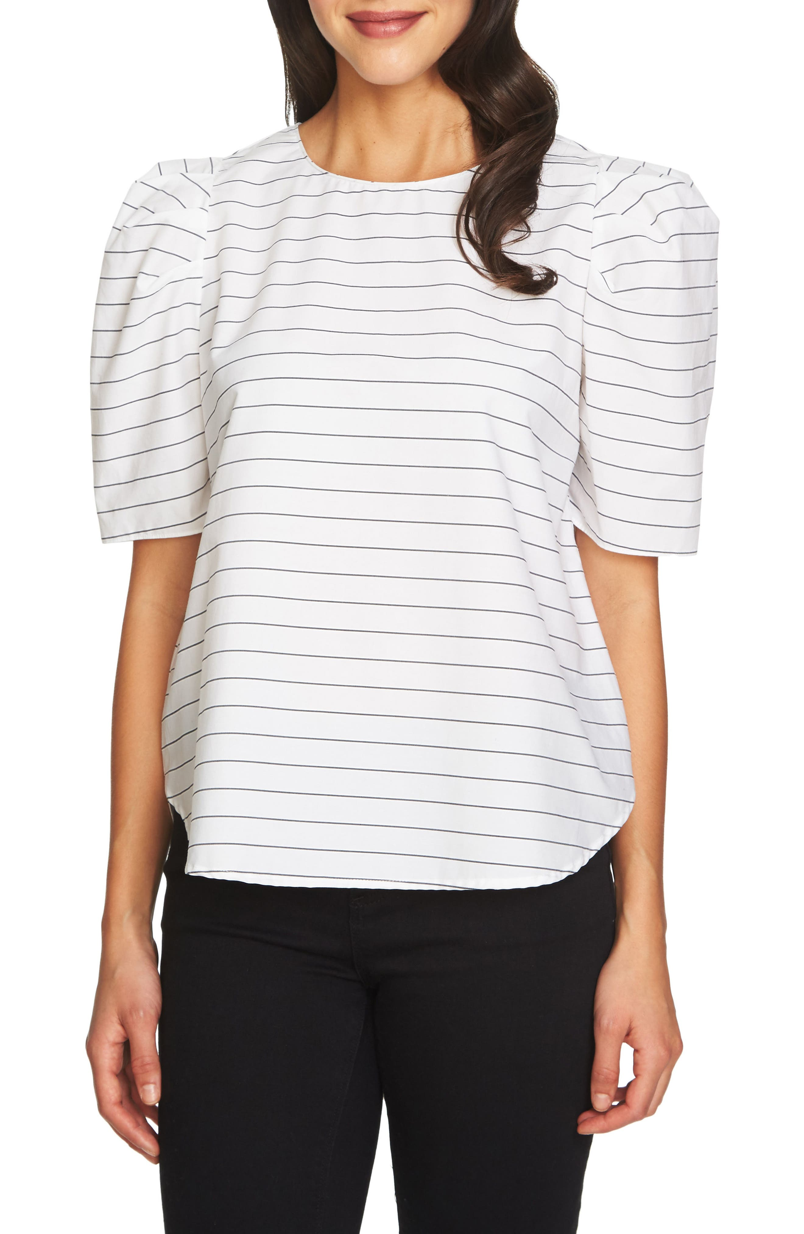 Puff Sleeve Top,                         Main,                         color, Ultra White
