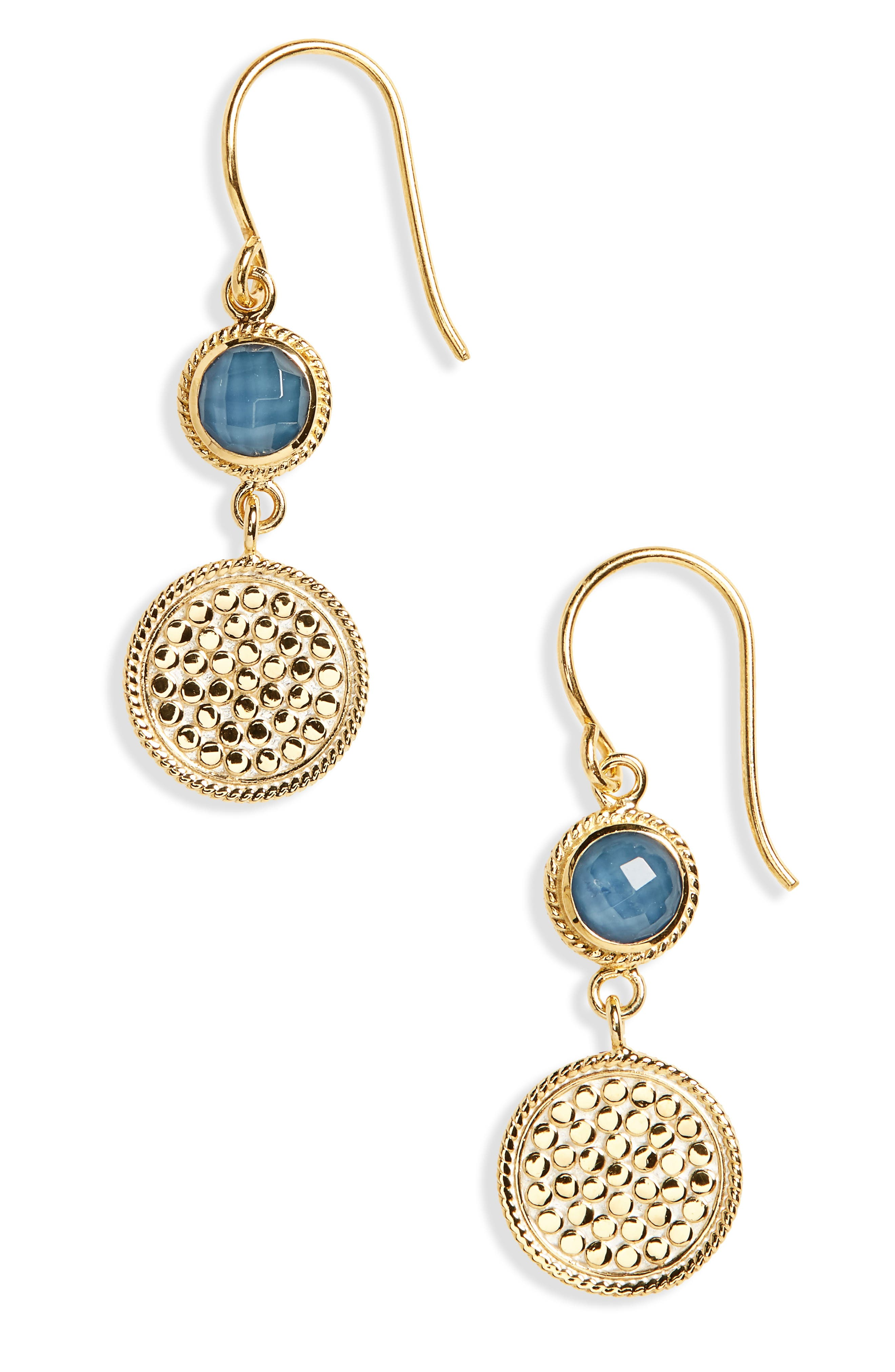 Semiprecious Stone Double Drop Earrings,                             Main thumbnail 1, color,                             Gold/ Blue Quartz