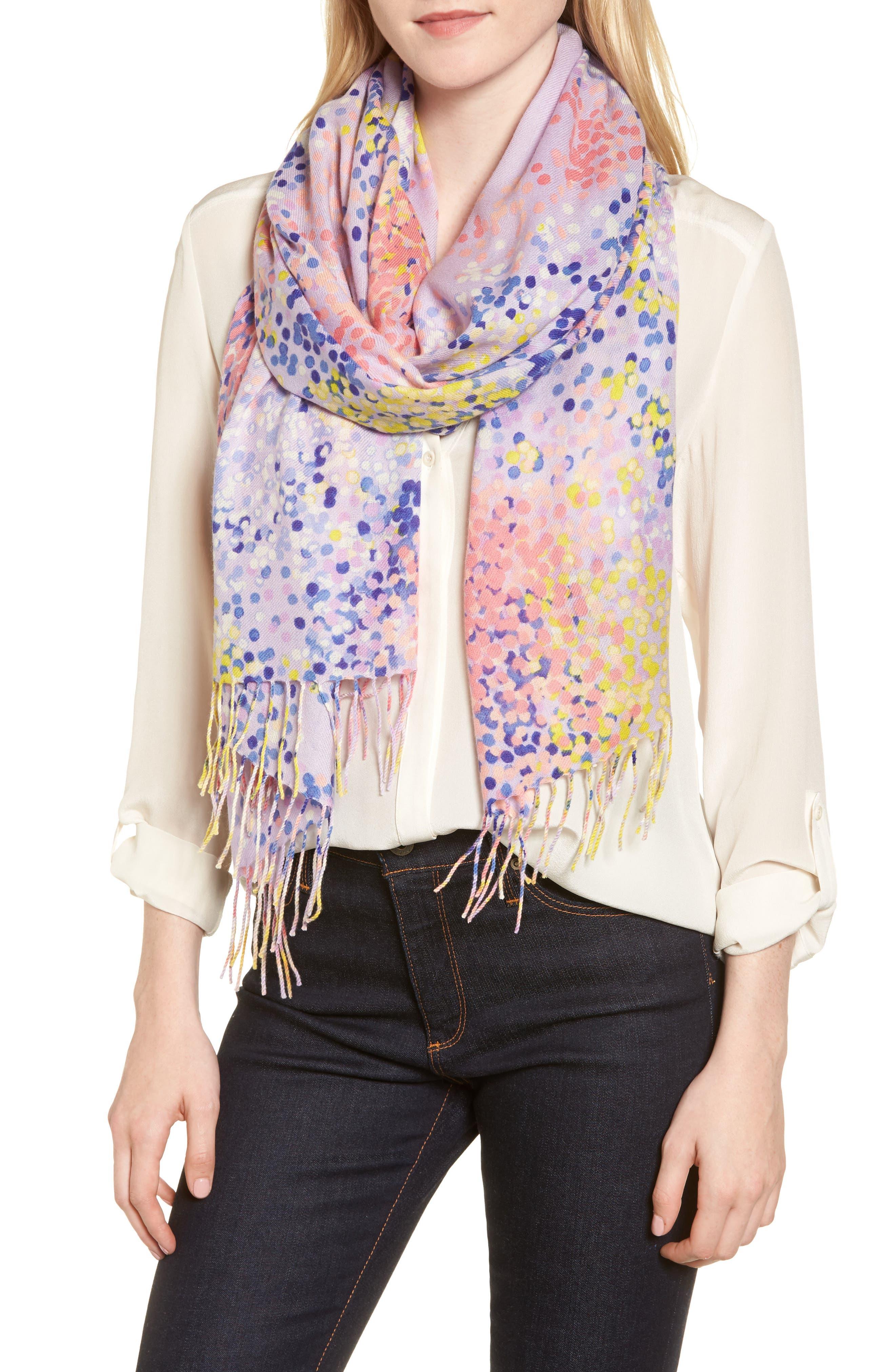 Tissue Print Wool & Cashmere Wrap Scarf,                             Main thumbnail 1, color,                             Purple Beautiful Dots