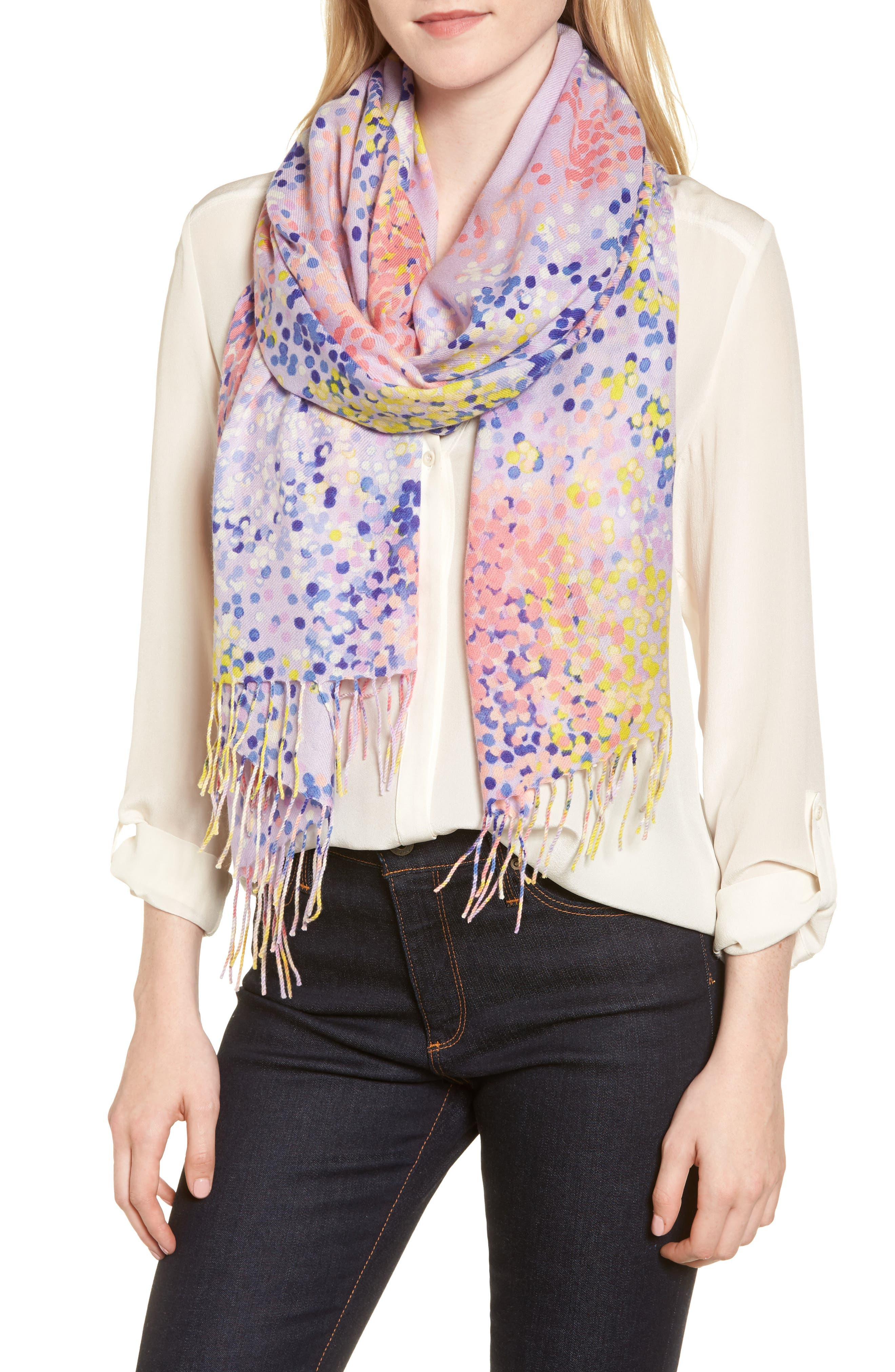 Tissue Print Wool & Cashmere Wrap Scarf,                         Main,                         color, Purple Beautiful Dots