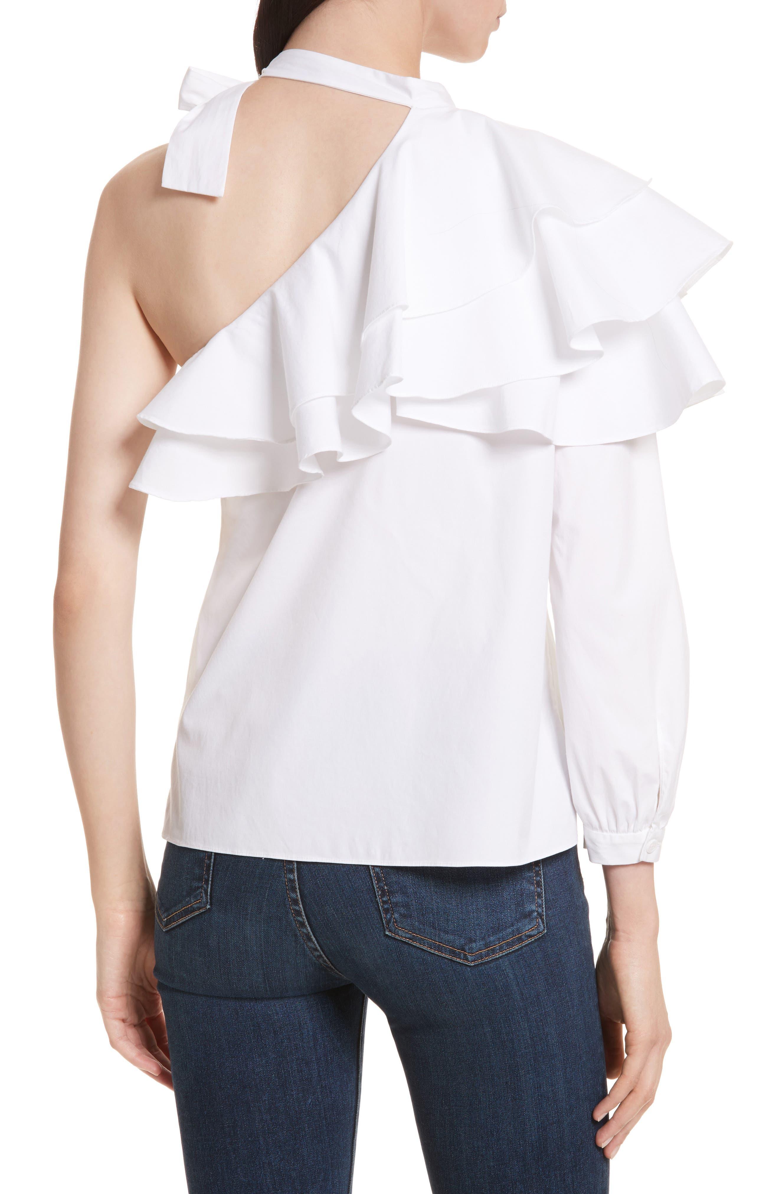 Gigi Ruffle One-Shoulder Top,                             Alternate thumbnail 2, color,                             White