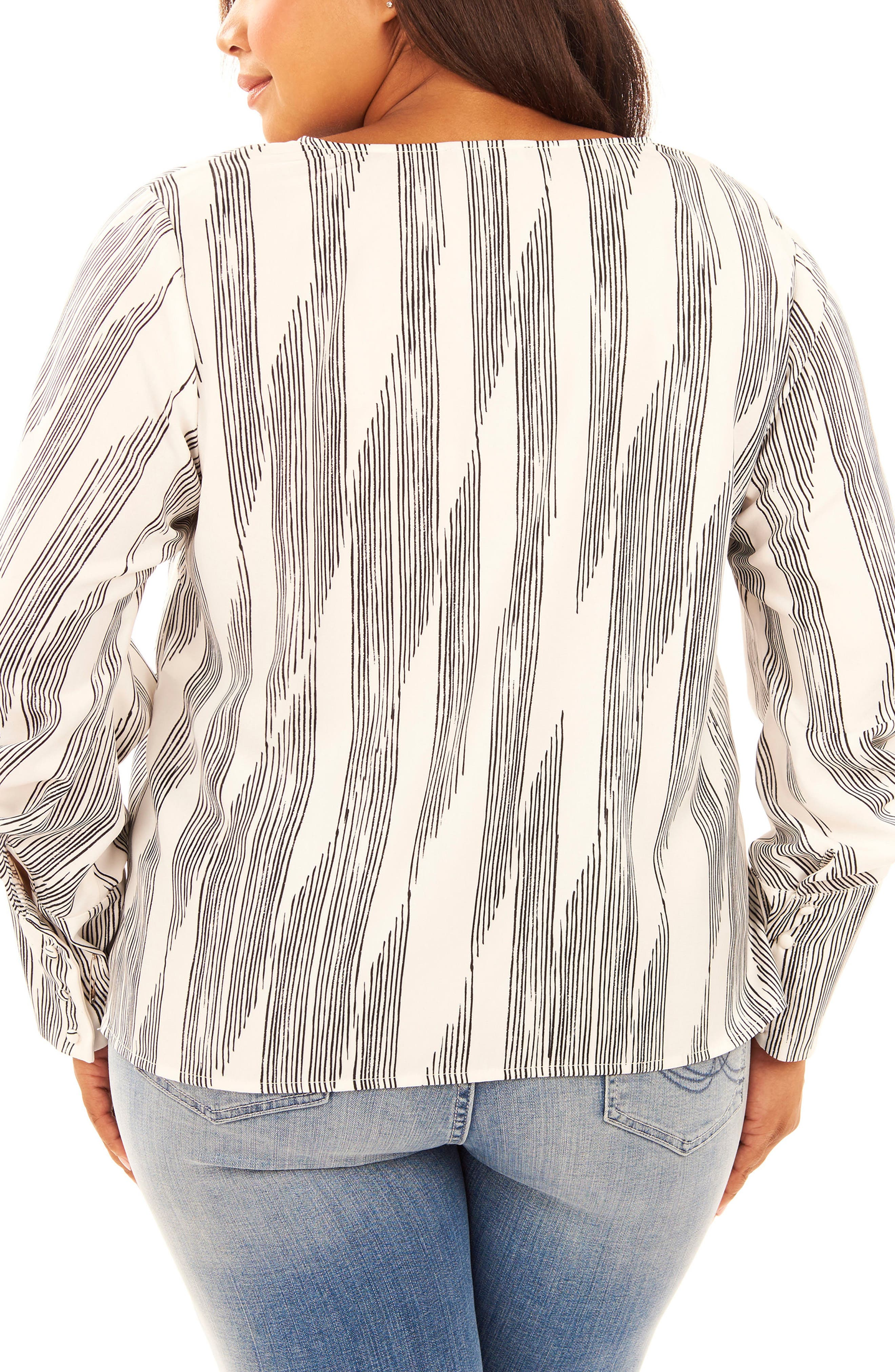 Print Pleated Sleeve Top,                             Alternate thumbnail 2, color,                             Pencil Lines