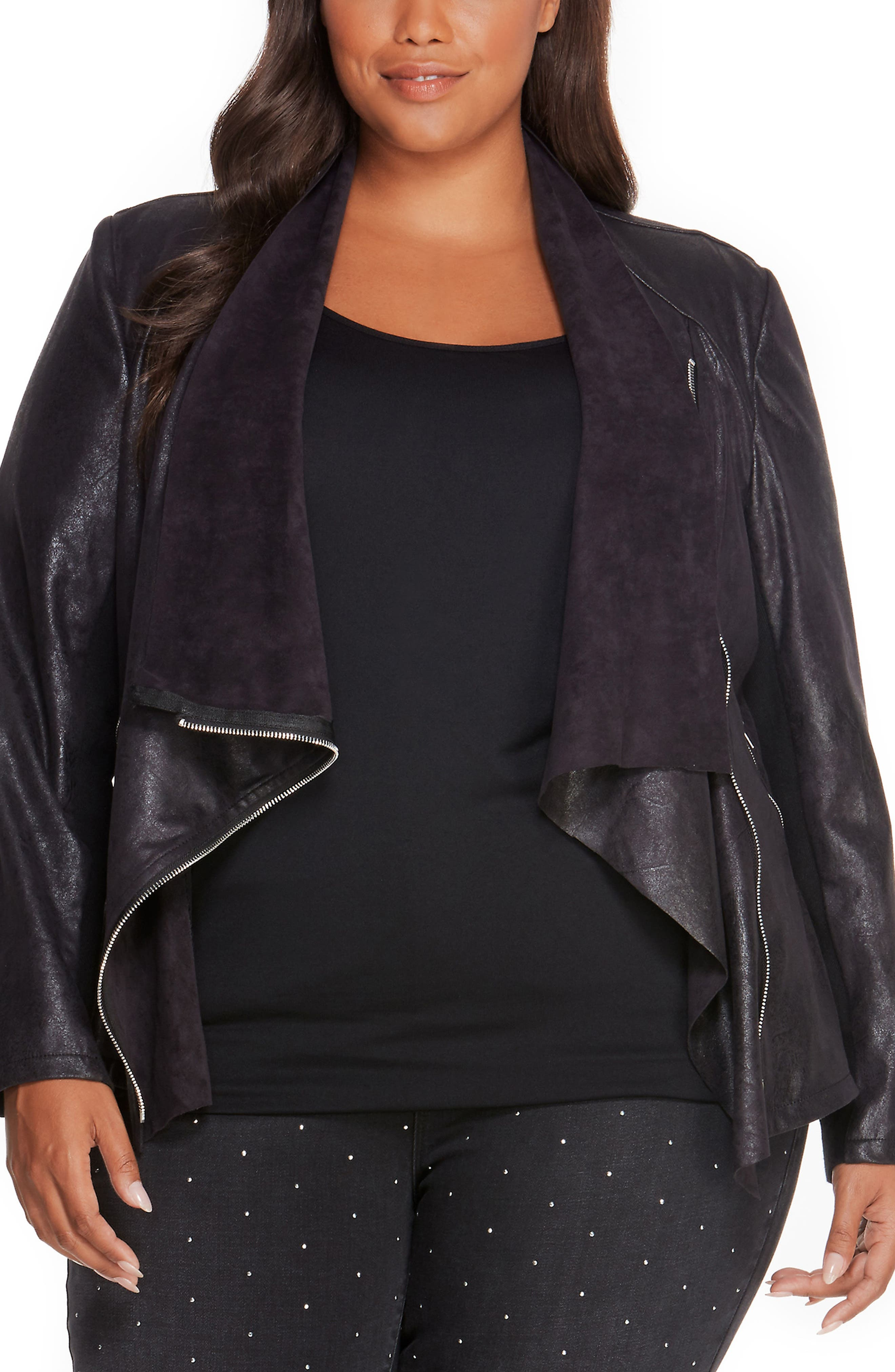 Alternate Image 1 Selected - REBEL WILSON X ANGELS Asymmetrical Faux Leather Jacket (Plus Size)