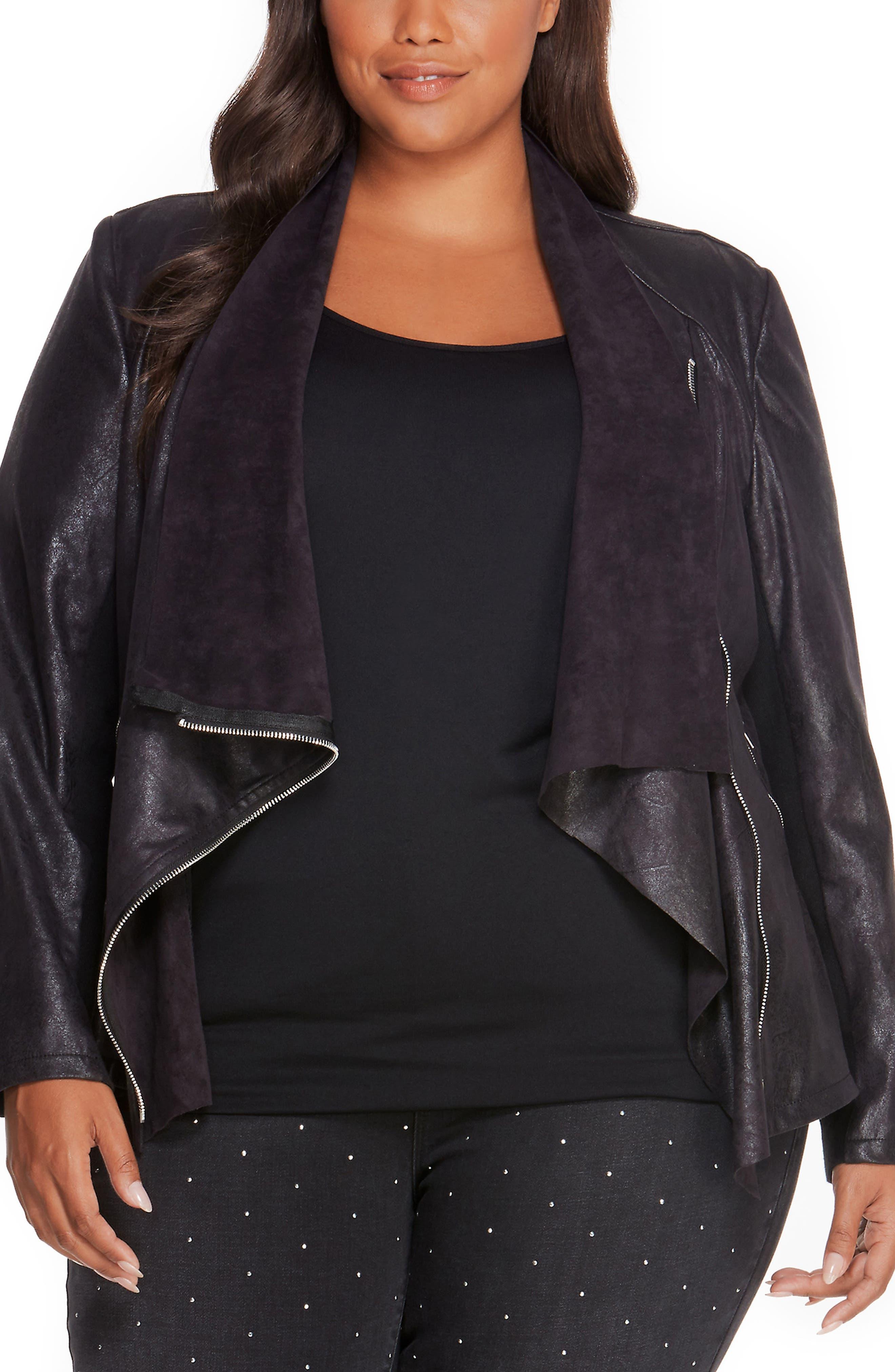 Asymmetrical Faux Leather Jacket,                             Main thumbnail 1, color,                             Black