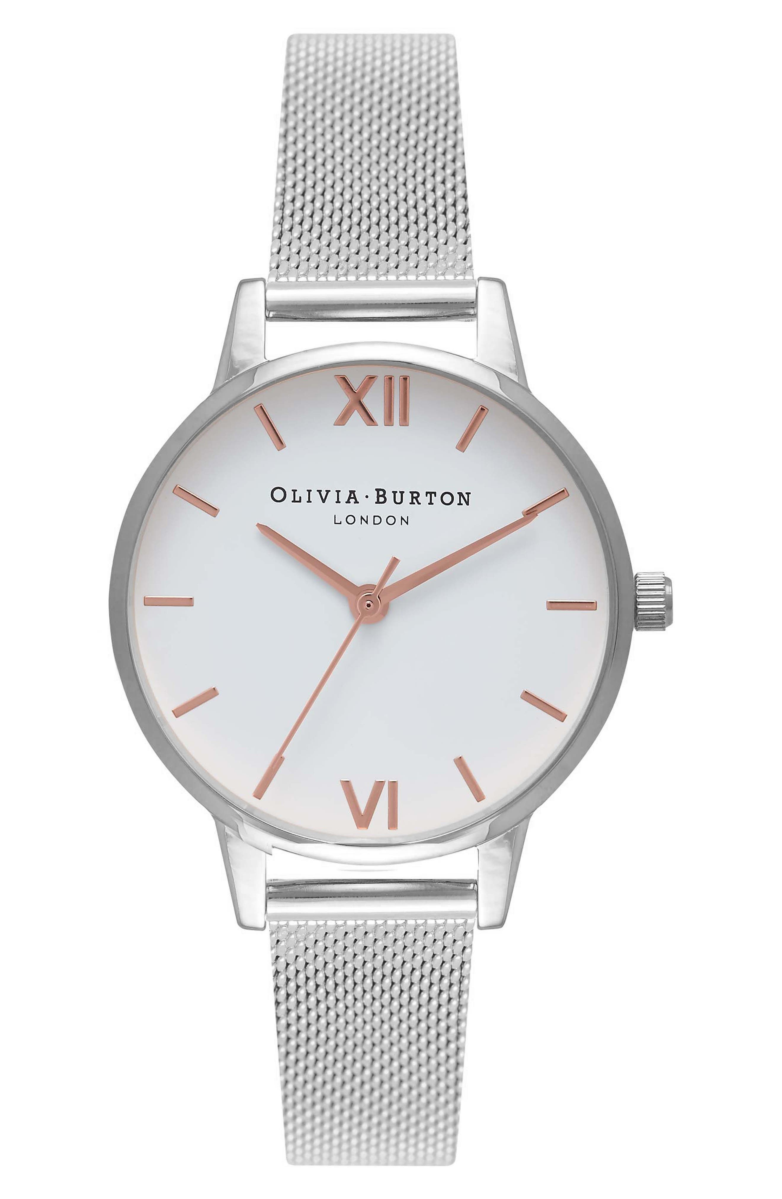 Mesh Strap Watch, 30mm,                         Main,                         color, Silver/ White/ Rose Gold