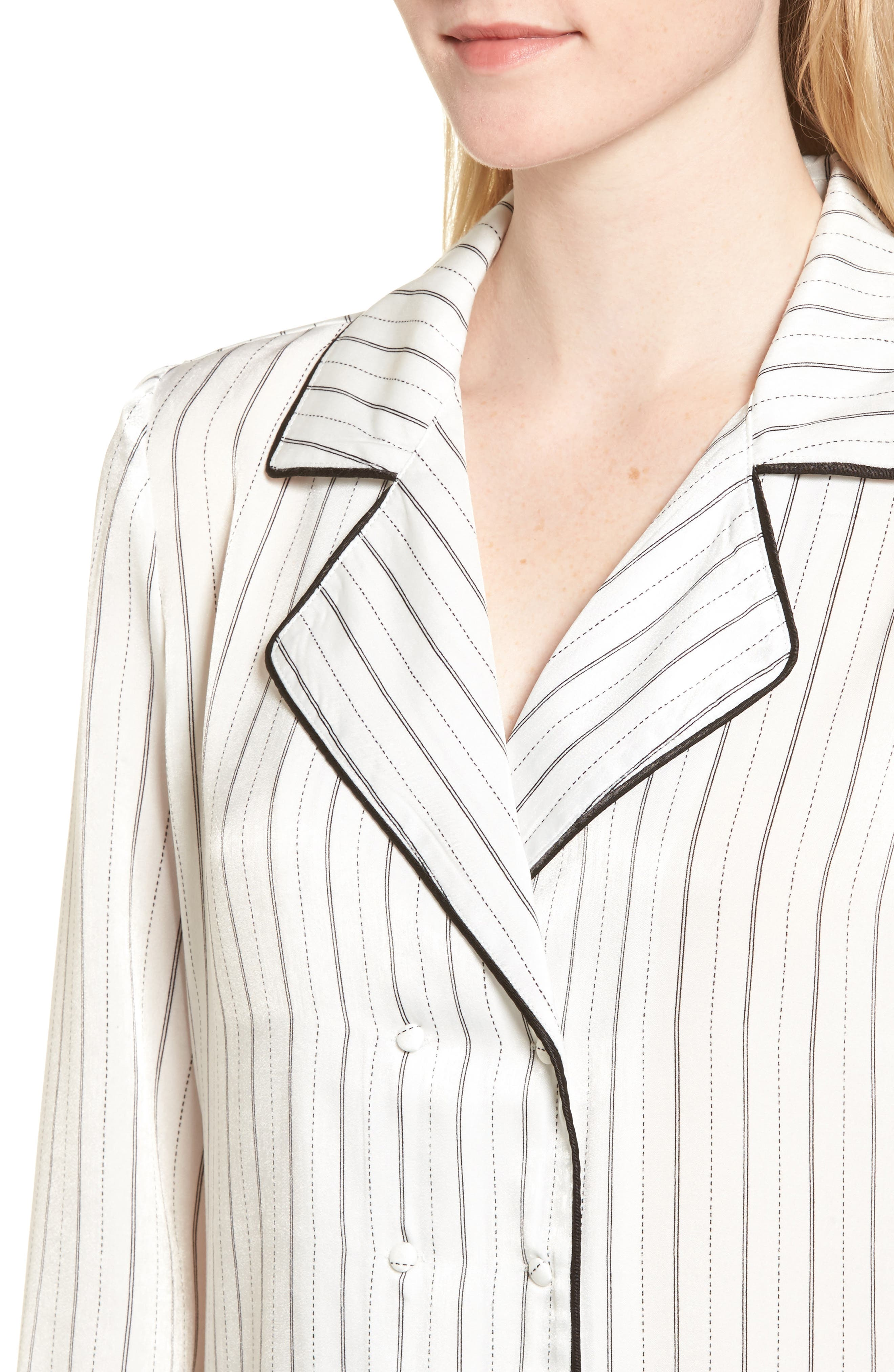 Double Breasted Pajama Top,                             Alternate thumbnail 4, color,                             Stripe