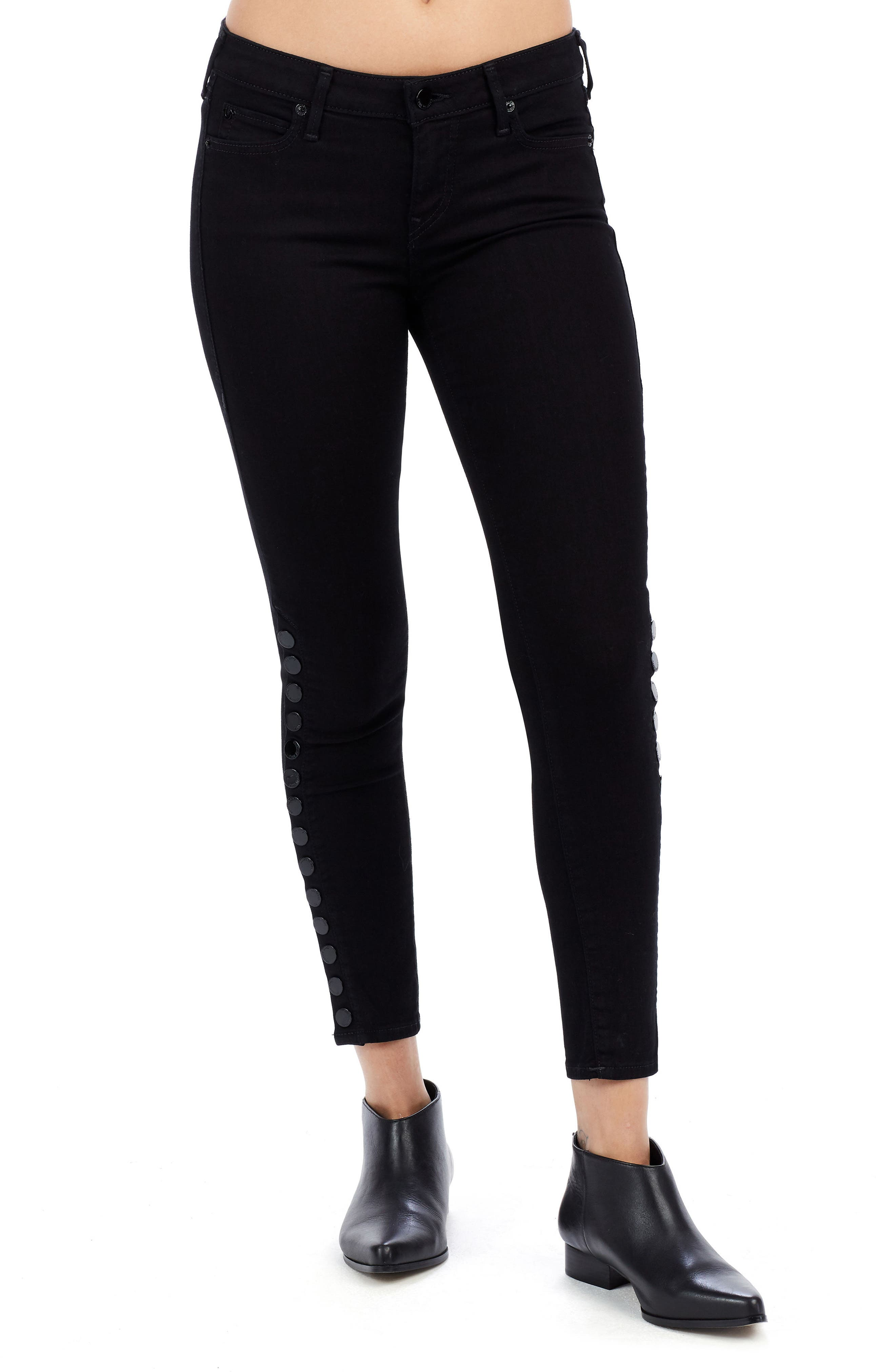 Main Image - True Religion Brand Jeans Halle Snap Ankle Super Skinny Jeans (Jet Black)