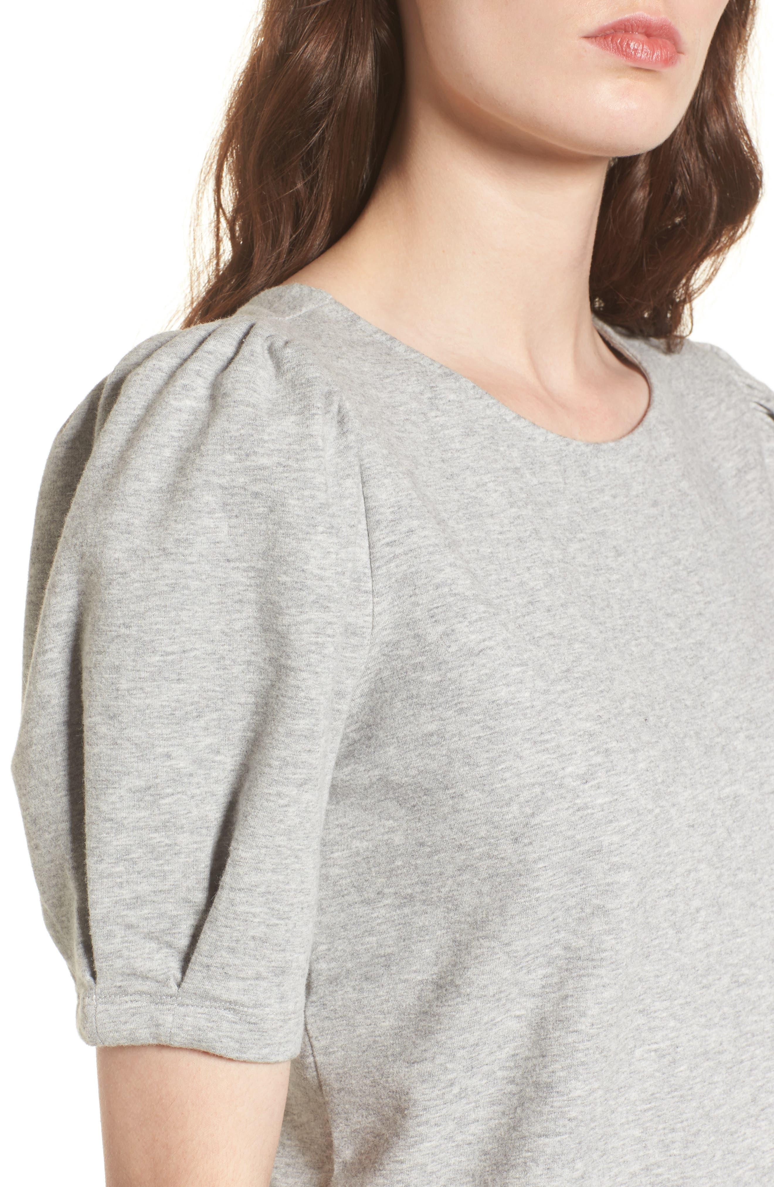 Tie Back Sweatshirt,                             Alternate thumbnail 4, color,                             Grey Heather