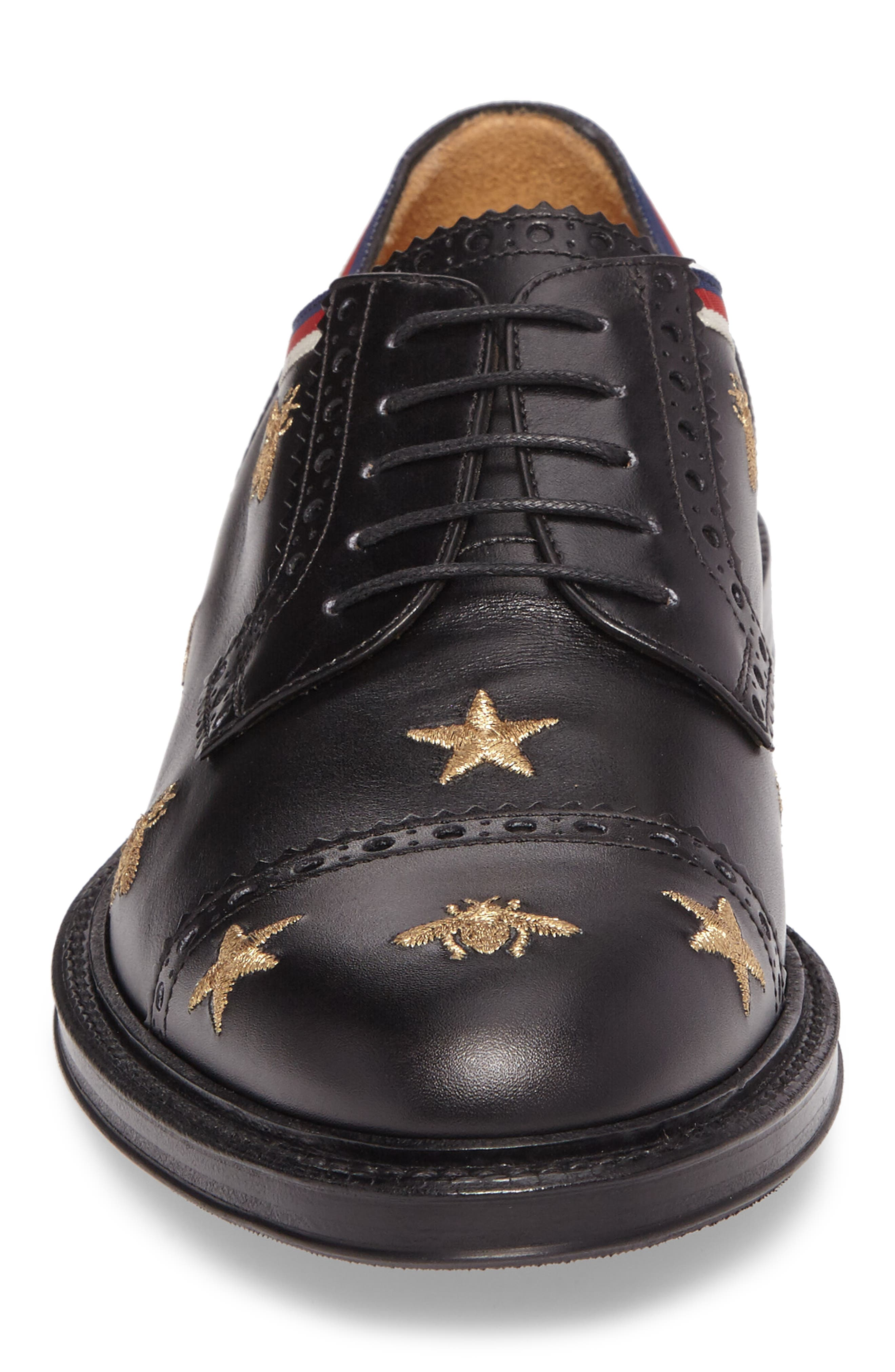 Embroidered Leather Brogue Shoe,                             Alternate thumbnail 4, color,                             Black