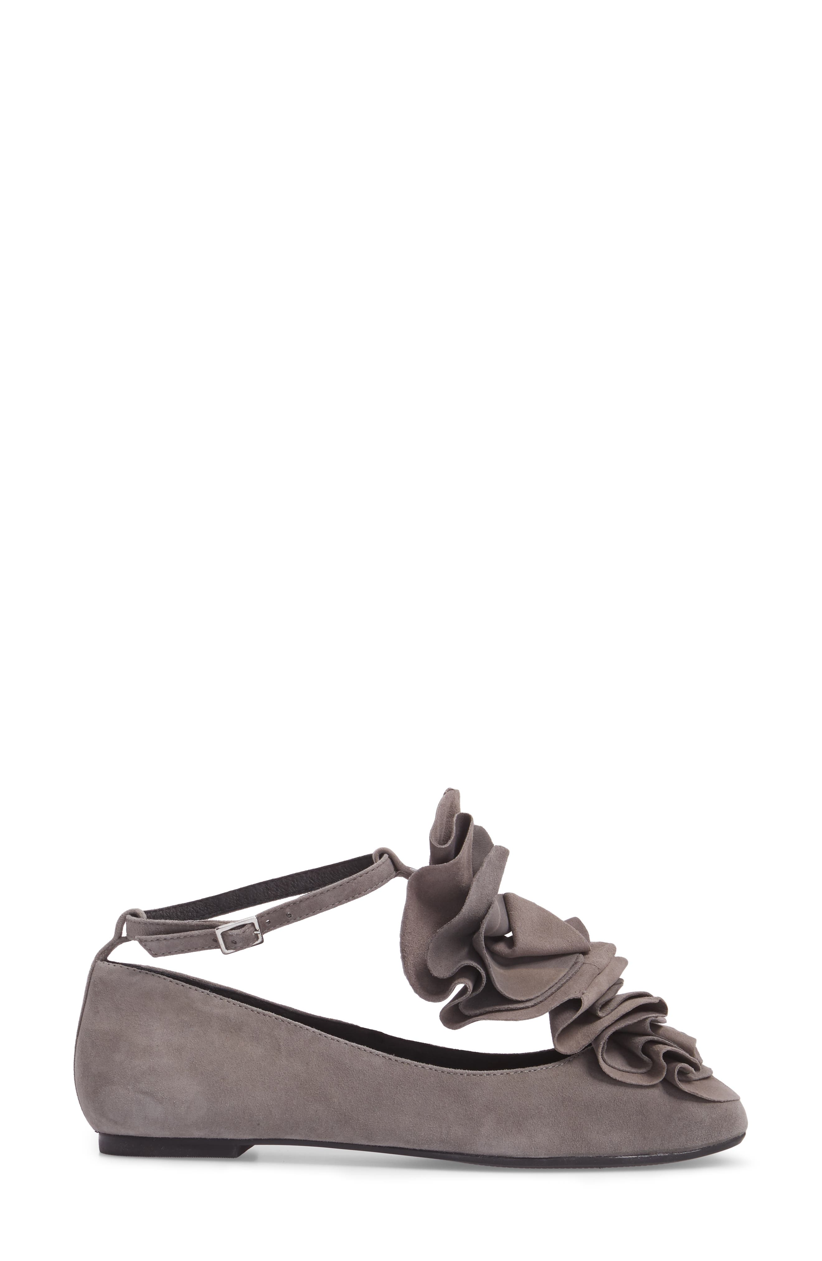 Jenny Ruffle Flat,                             Alternate thumbnail 3, color,                             Gray Suede
