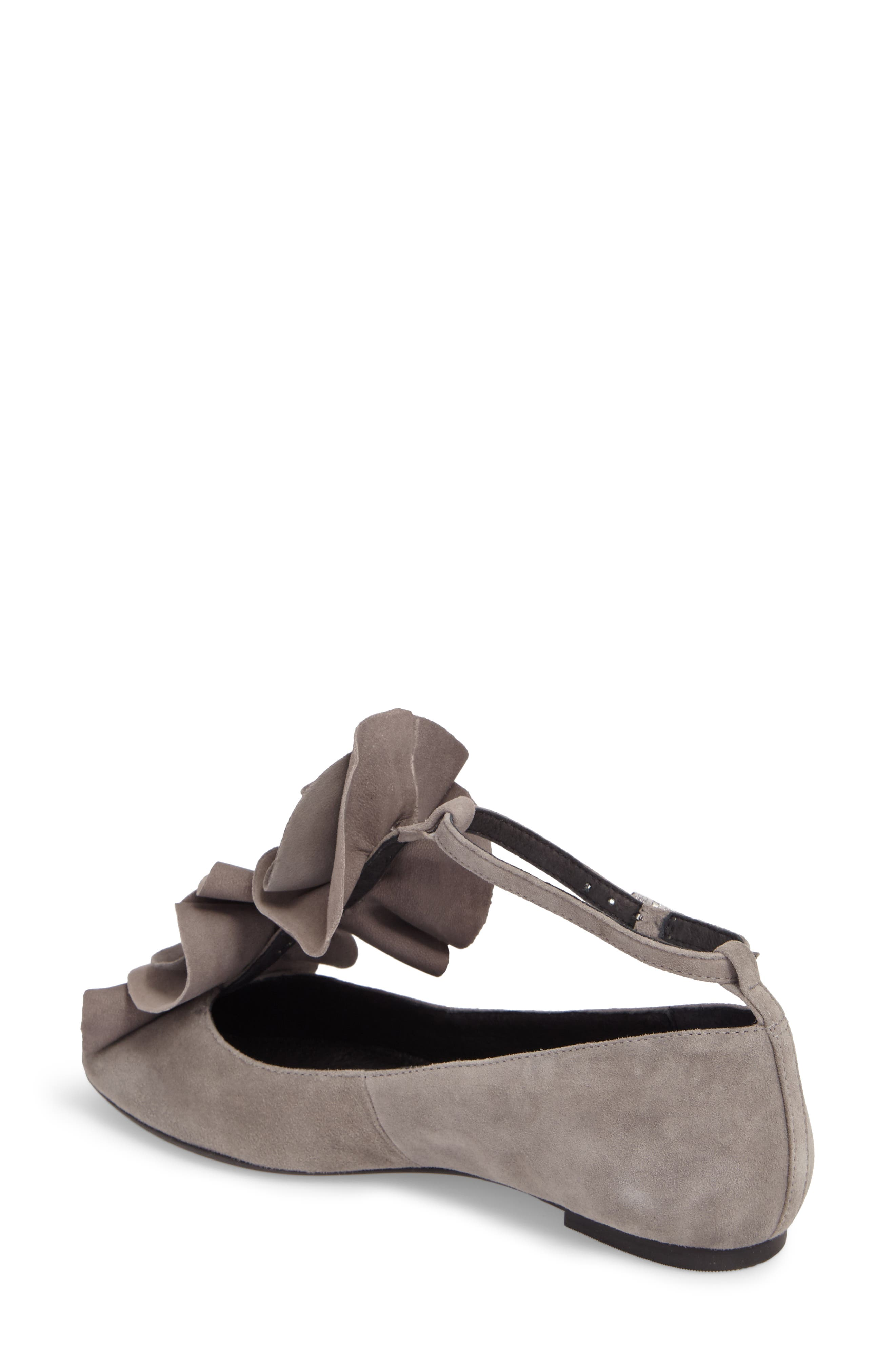 Jenny Ruffle Flat,                             Alternate thumbnail 2, color,                             Gray Suede